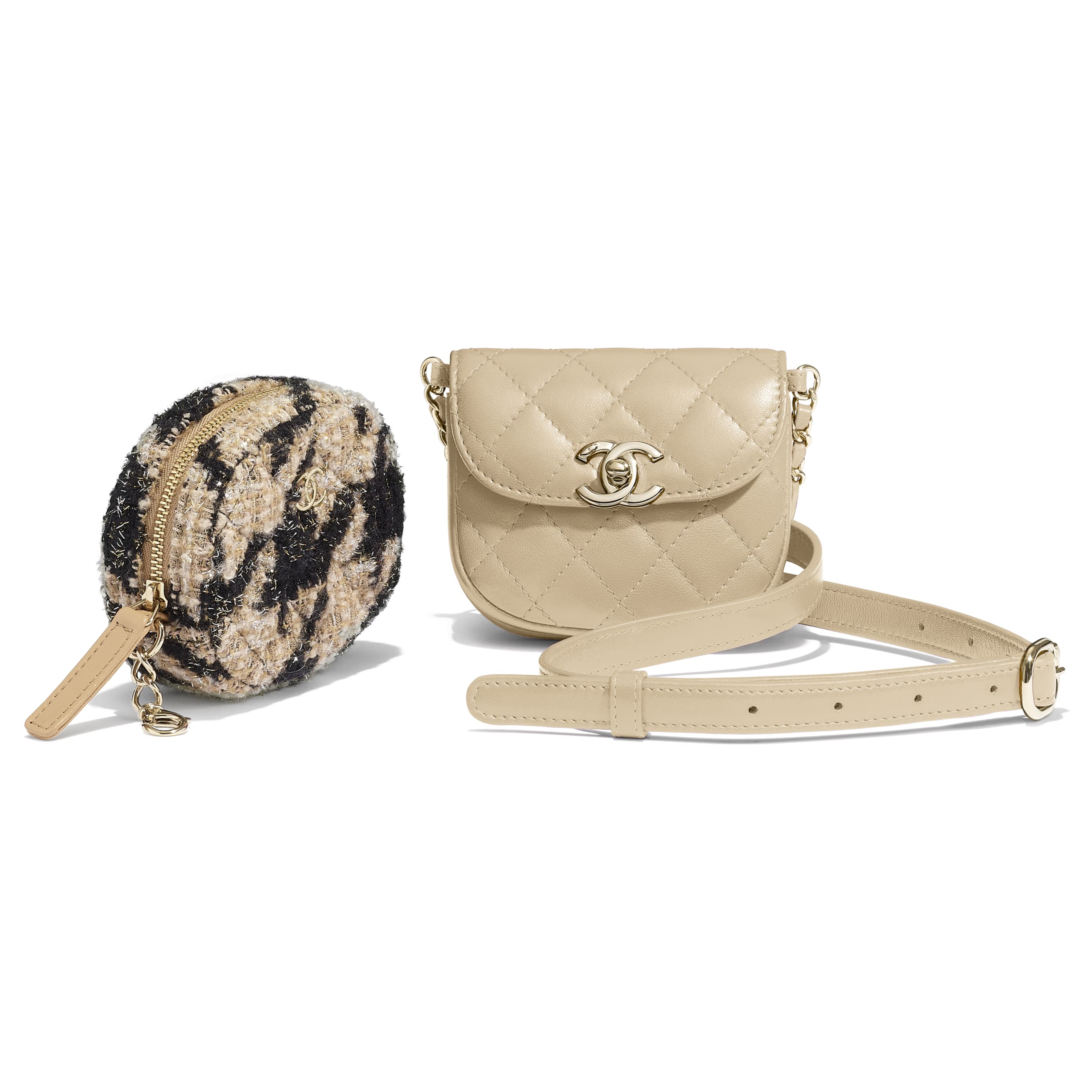 Waist Bag & Coin Purse - Beige & Black - Lambskin, Tweed & Gold-Tone Metal - Extra view - see standard sized version