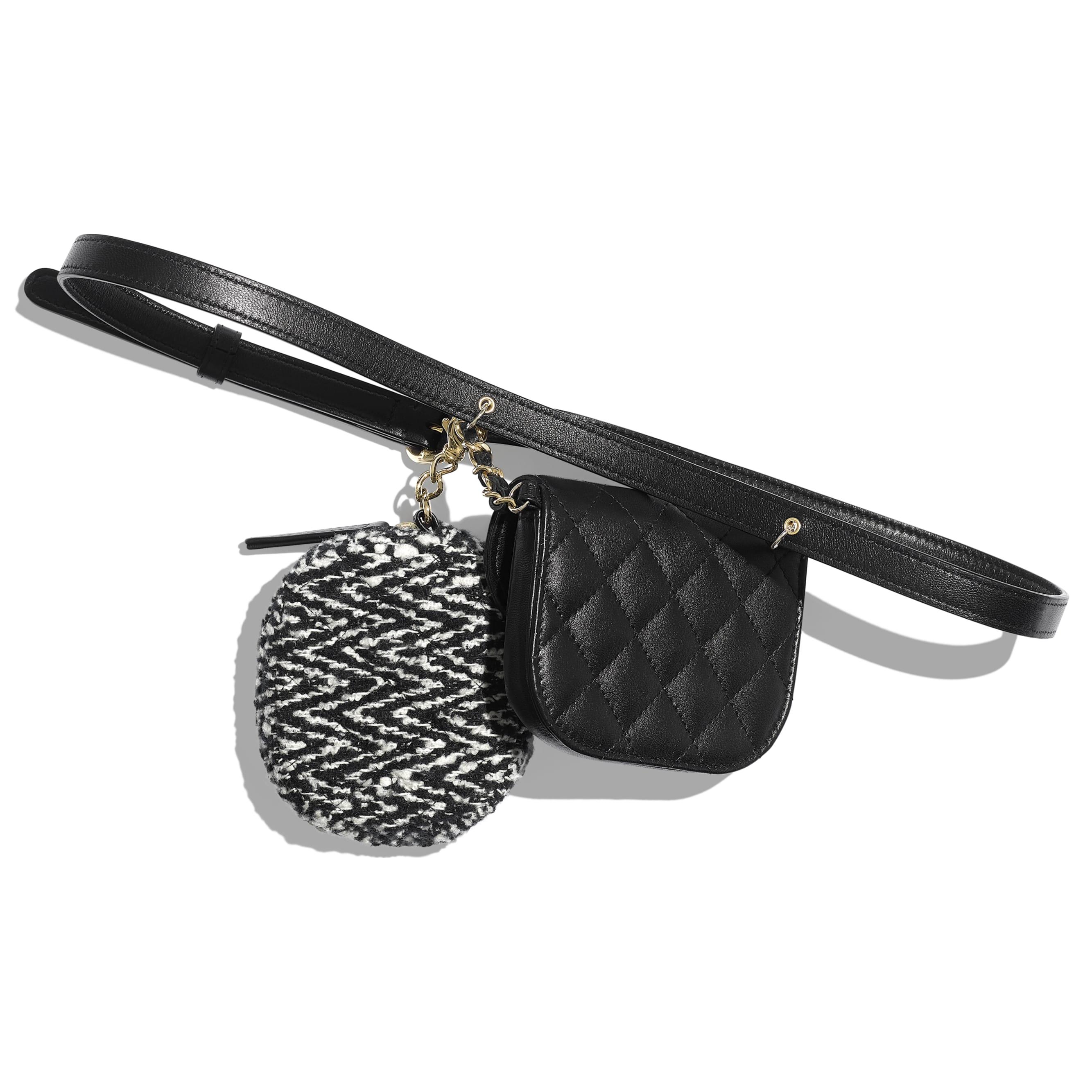 Поясная сумка с кошельком для монет - Черный и белый - Кожа ягненка, твид и золотистый металл - Альтернативный вид - посмотреть изображение стандартного размера