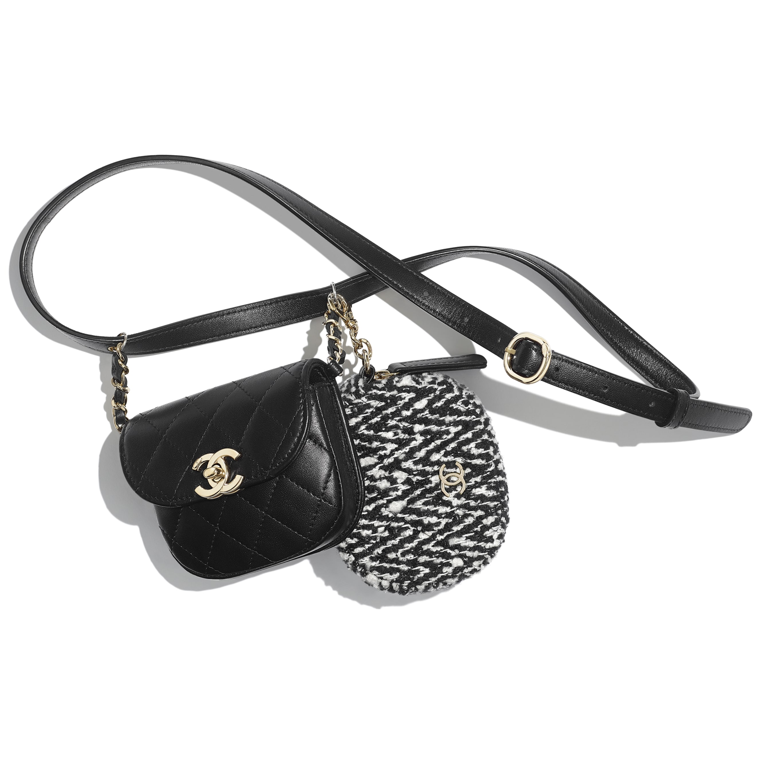 Waist Bag & Coin Purse - Black & White - Lambskin, Tweed & Gold-Tone Metal - Default view - see standard sized version