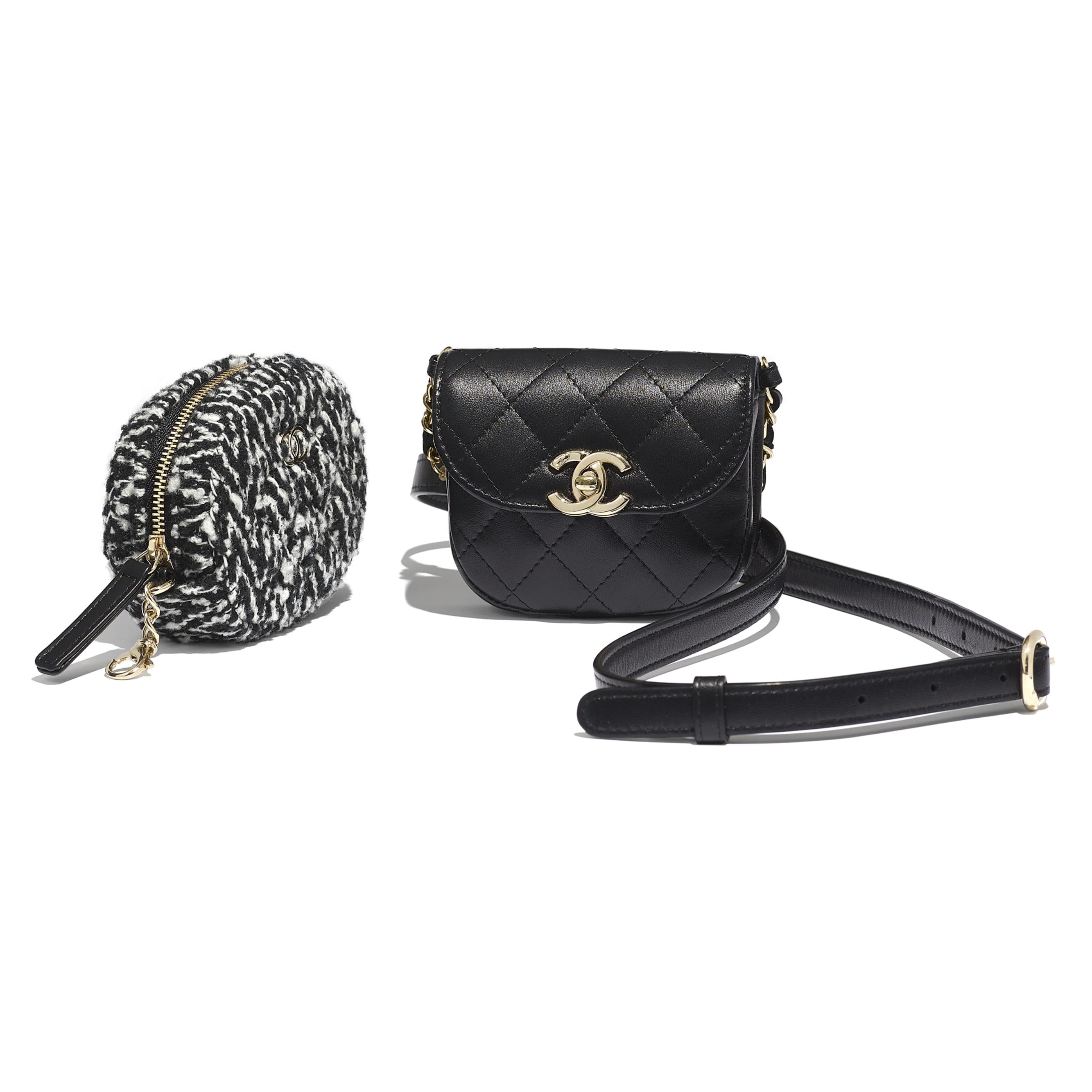 Поясная сумка с кошельком для монет - Черный и белый - Кожа ягненка, твид и золотистый металл - Дополнительное изображение - посмотреть изображение стандартного размера