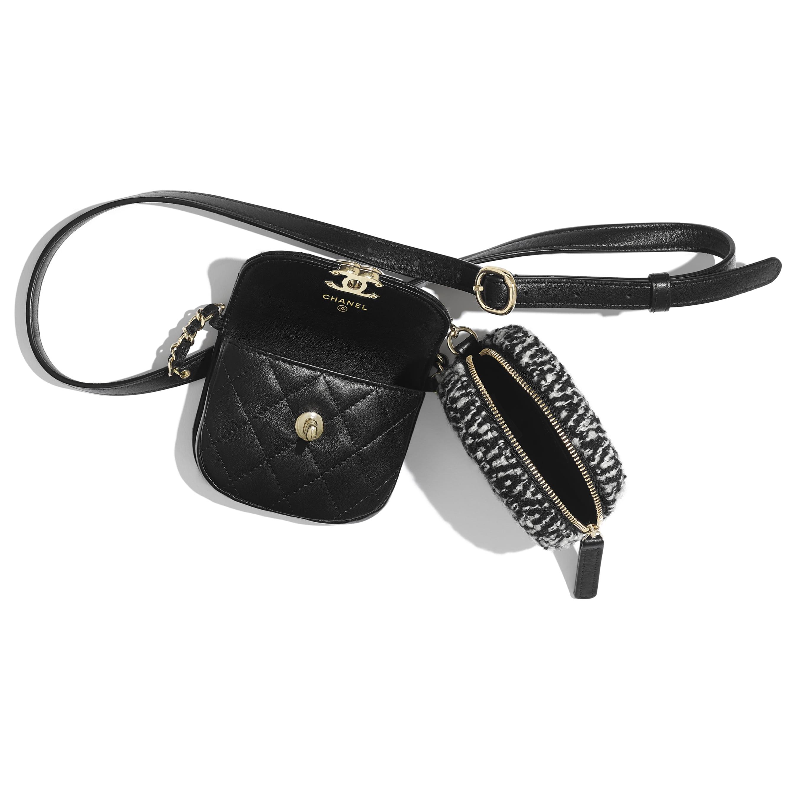 Поясная сумка с кошельком для монет - Черный и белый - Кожа ягненка, твид и золотистый металл - Другое изображение - посмотреть изображение стандартного размера