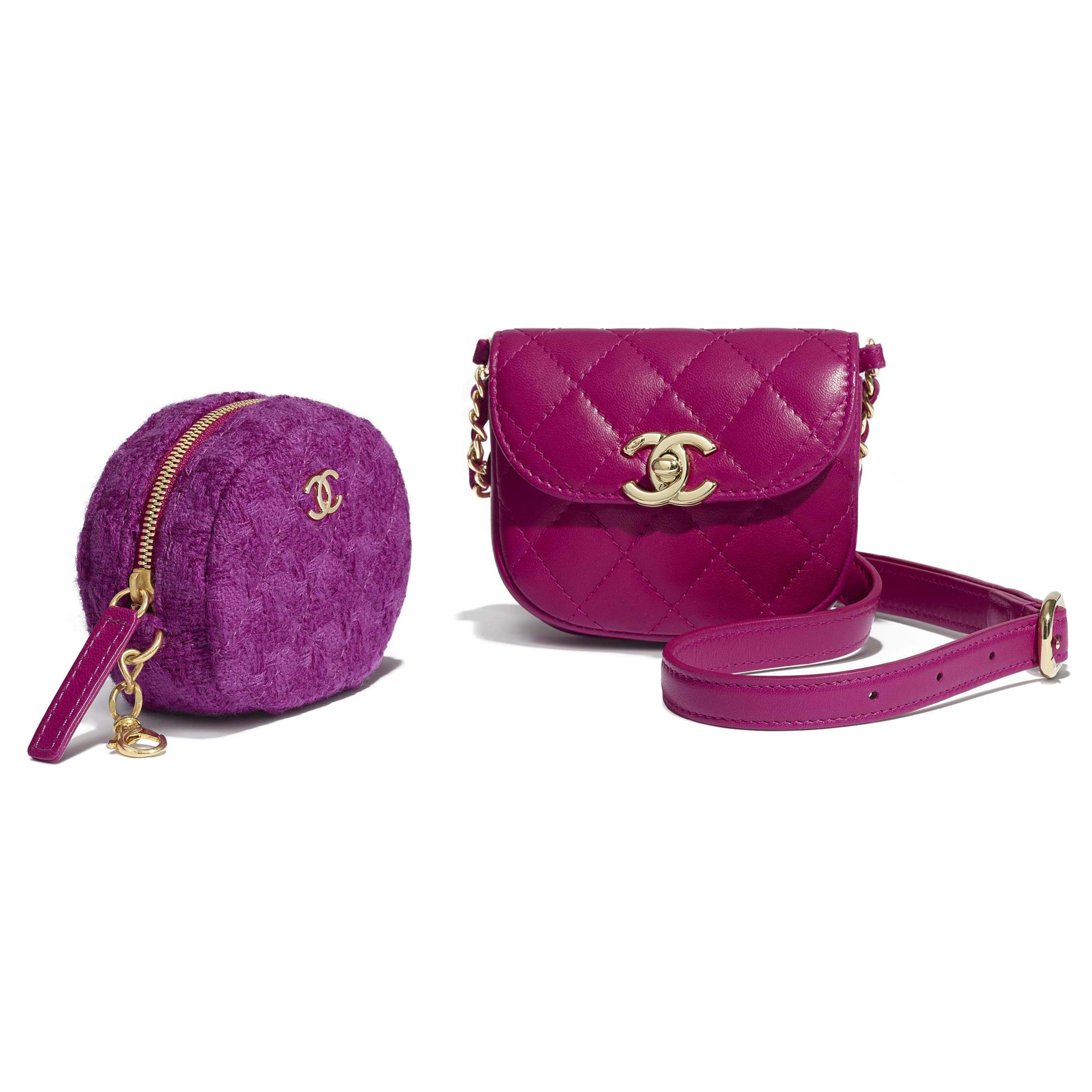 Waist Bag & Coin Purse - Fuchsia - Lambskin, Tweed & Gold-Tone Metal - Extra view - see standard sized version