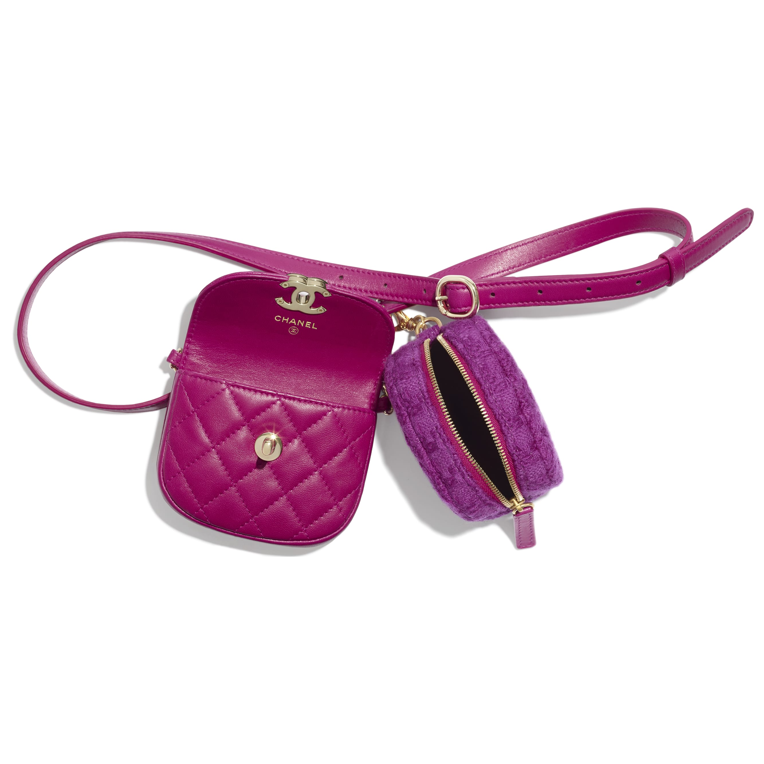 Waist Bag & Coin Purse - Fuchsia - Lambskin, Tweed & Gold-Tone Metal - Other view - see standard sized version