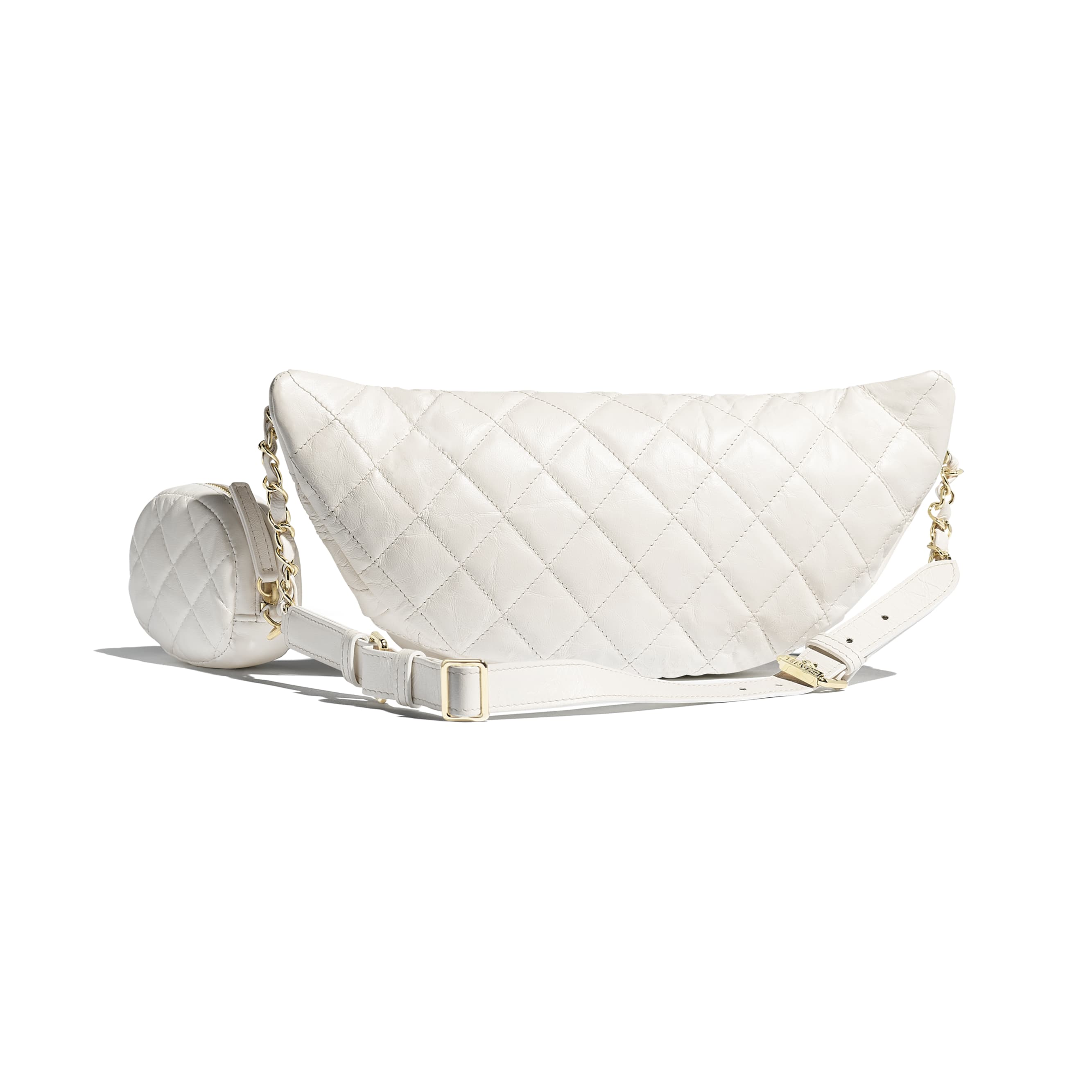 Waist Bag & Coin Purse - White - Aged Calfskin & Gold-Tone Metal - Alternative view - see standard sized version