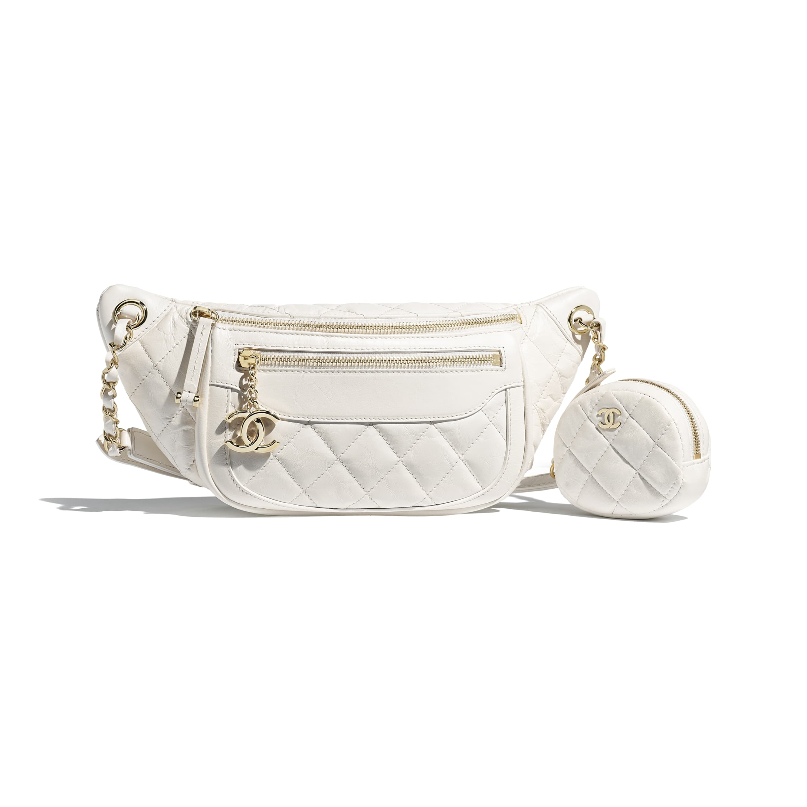 Waist Bag & Coin Purse - White - Aged Calfskin & Gold-Tone Metal - Default view - see standard sized version