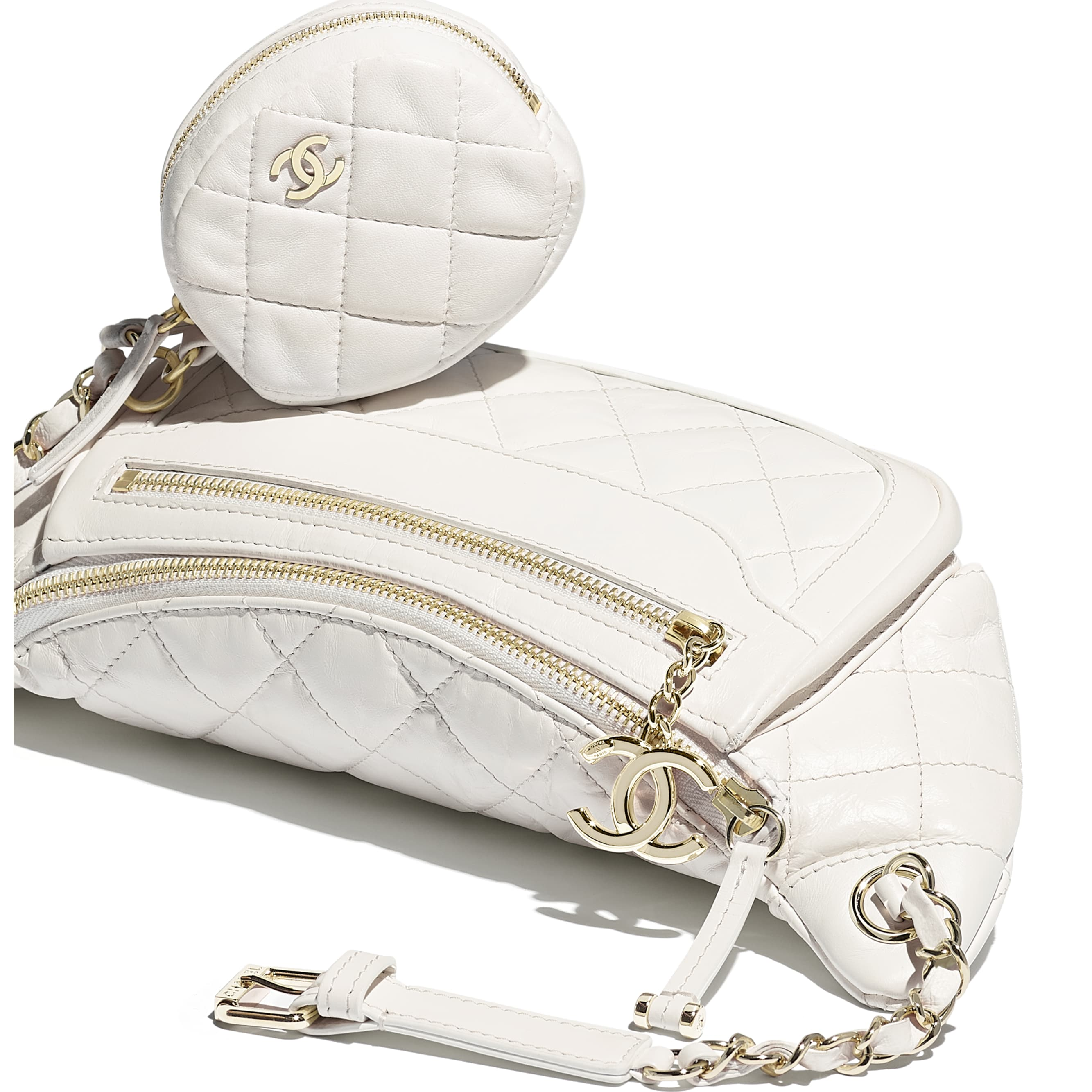 Waist Bag & Coin Purse - White - Aged Calfskin & Gold-Tone Metal - Extra view - see standard sized version