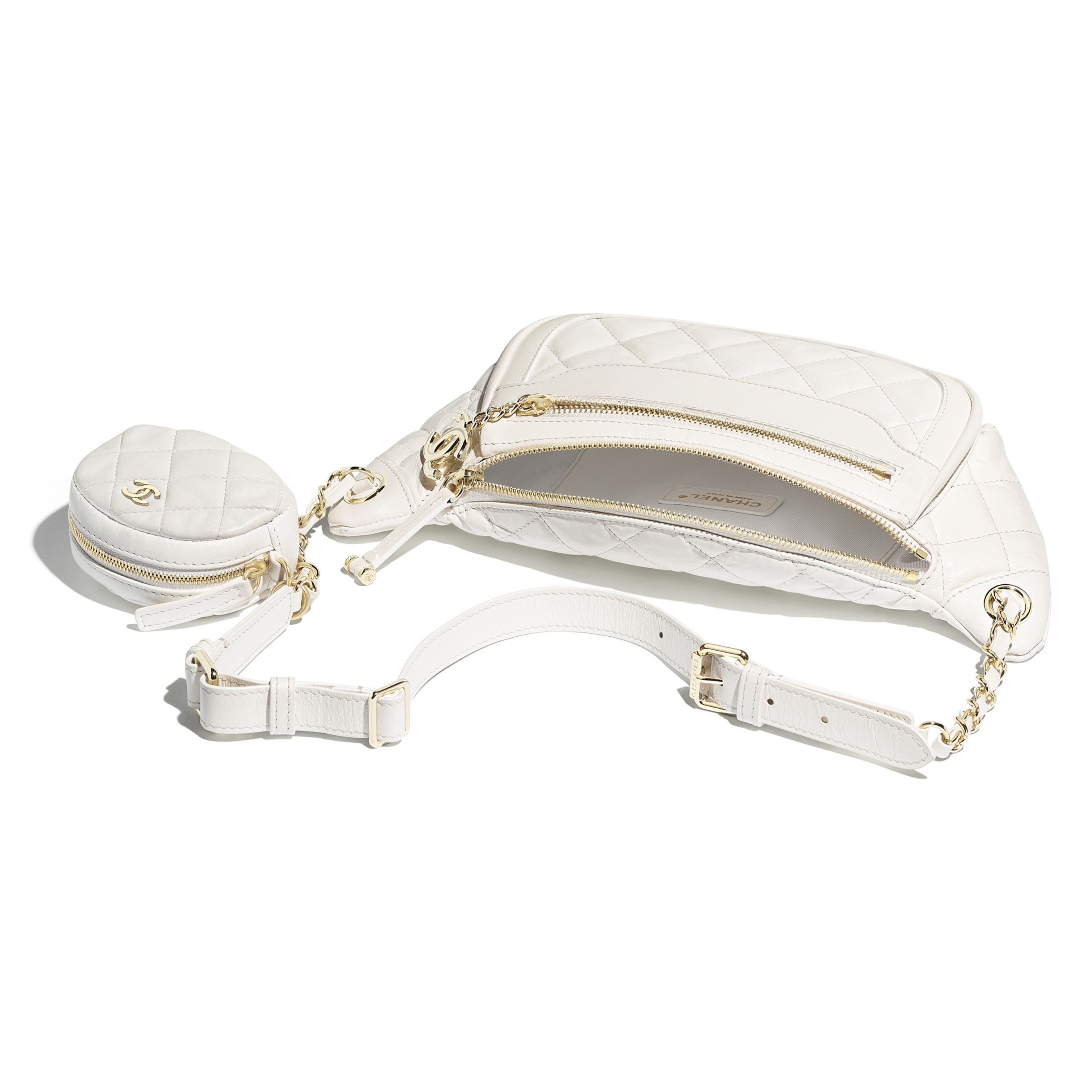 Waist Bag & Coin Purse - White - Aged Calfskin & Gold-Tone Metal - Other view - see standard sized version