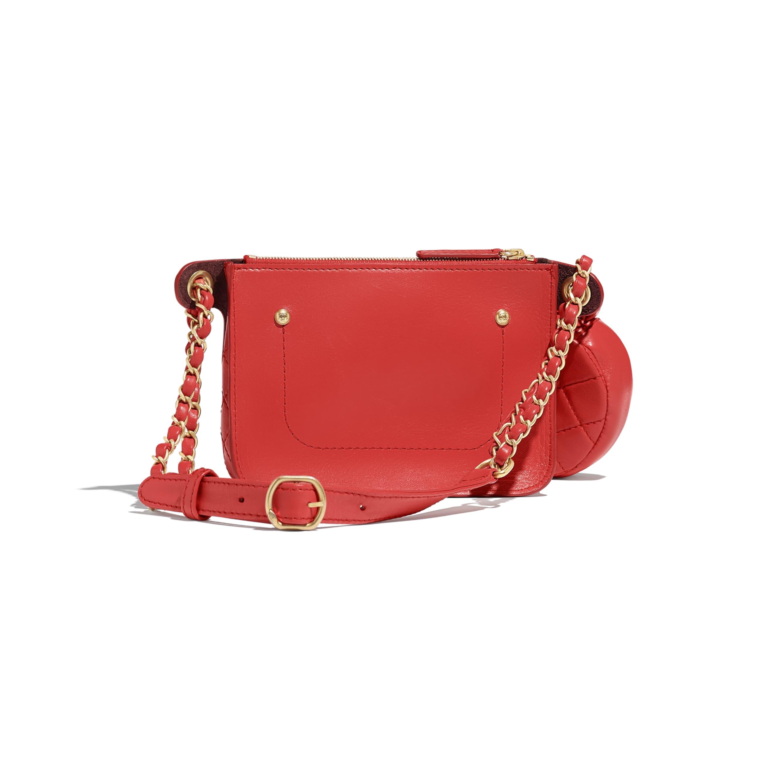 Waist Bag & Coin Purses - Red - Calfskin, Wool Tweed & Gold-Tone Metal - Alternative view - see standard sized version