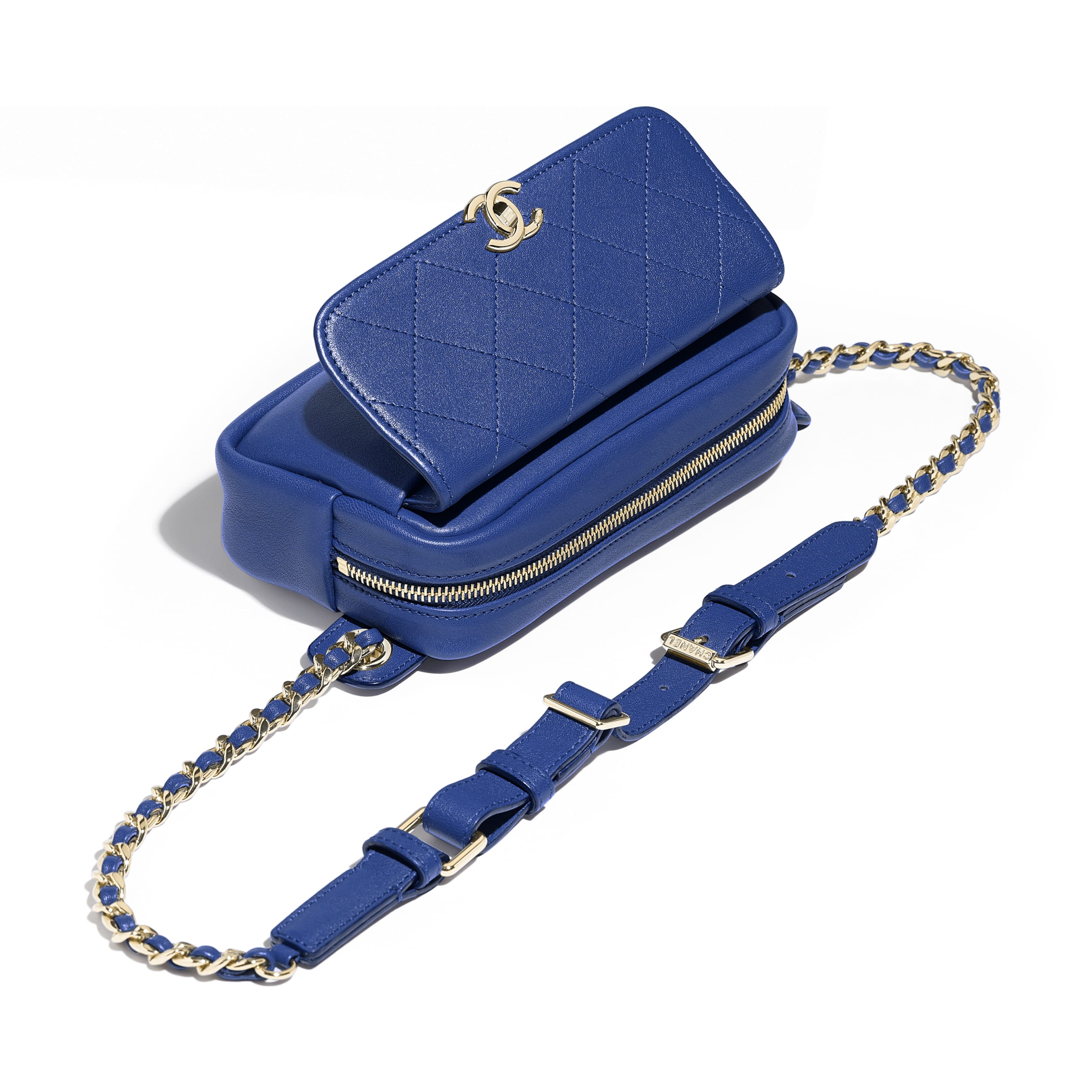 Waist Bag - Dark Blue - Lambskin & Gold-Tone Metal - Other view - see standard sized version
