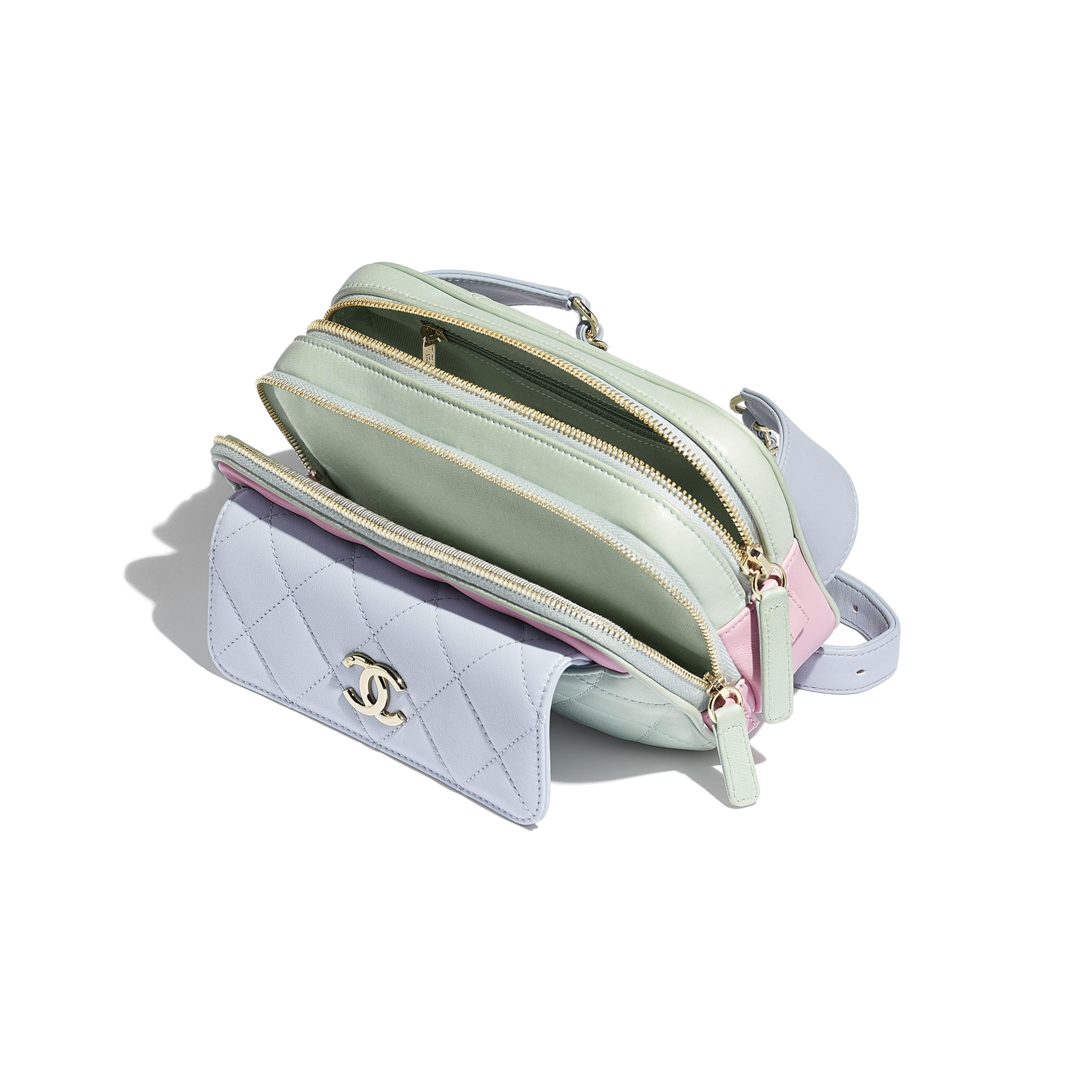 Waist Bag - Green, Blue & Pink - Goatskin & Gold-Tone Metal - Other view - see standard sized version