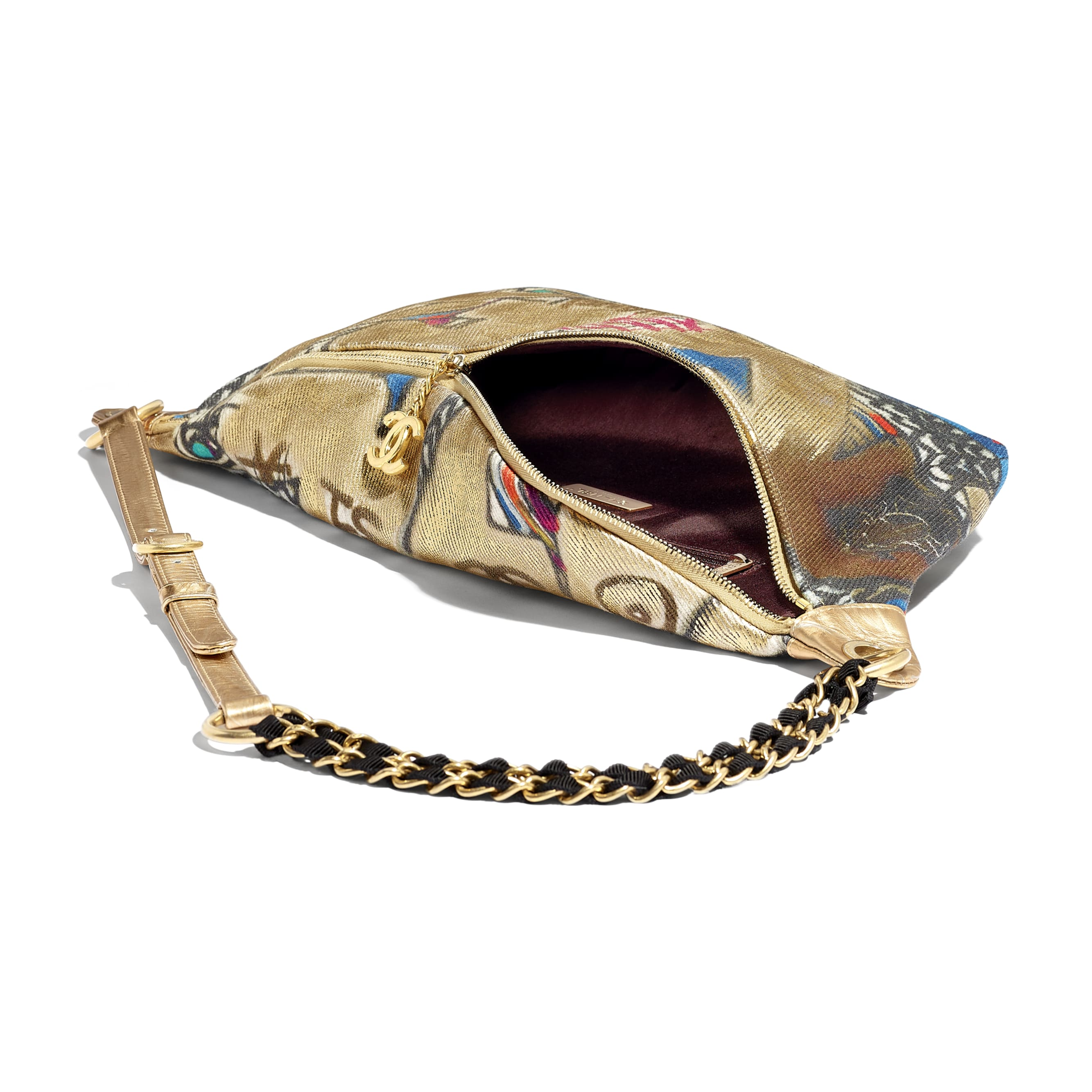 Waist Bag - Multicolor - Calfskin, Cotton & Gold-Tone Metal - Other view - see standard sized version