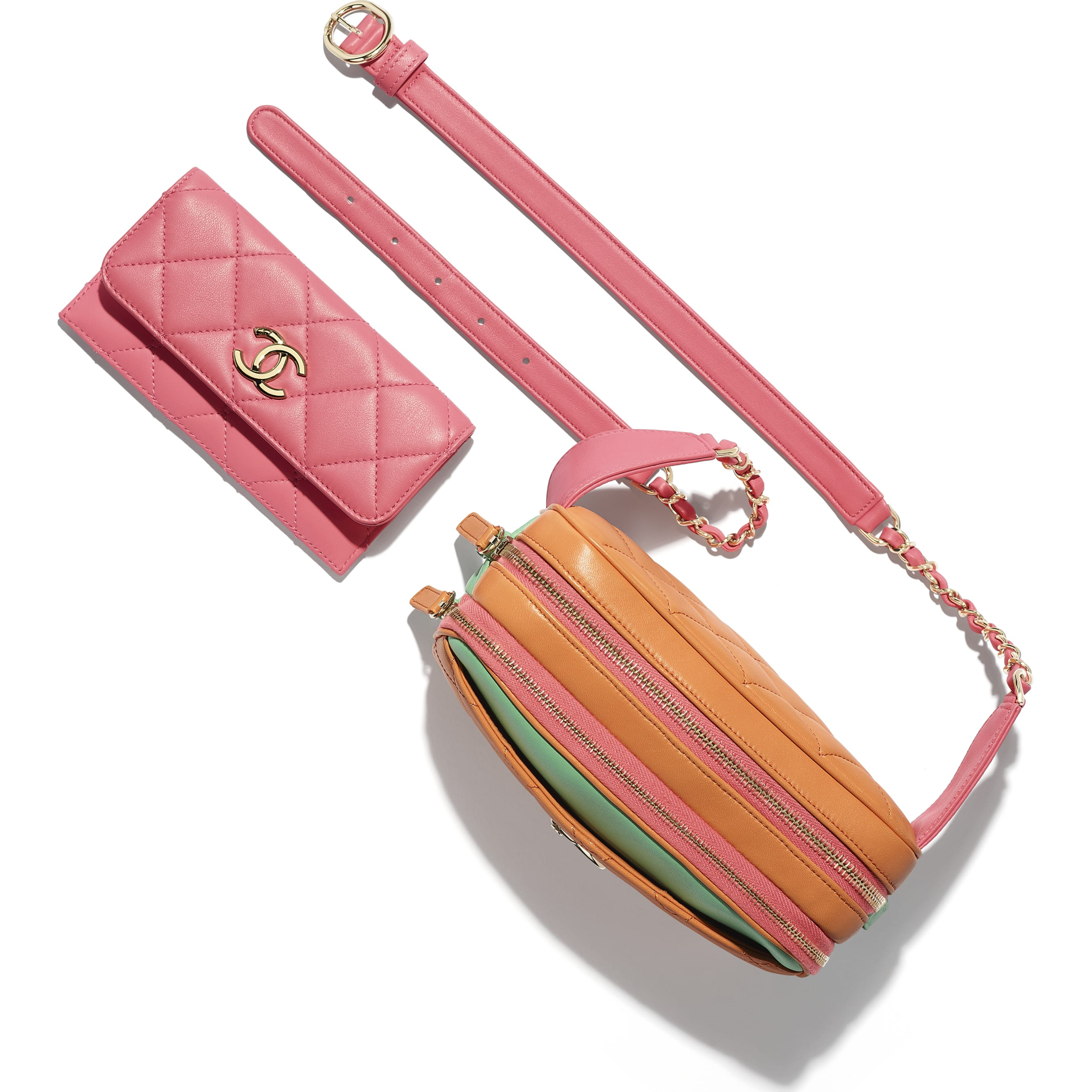 Waist Bag - Orange, Pink & Green - Goatskin & Gold-Tone Metal - CHANEL - Extra view - see standard sized version