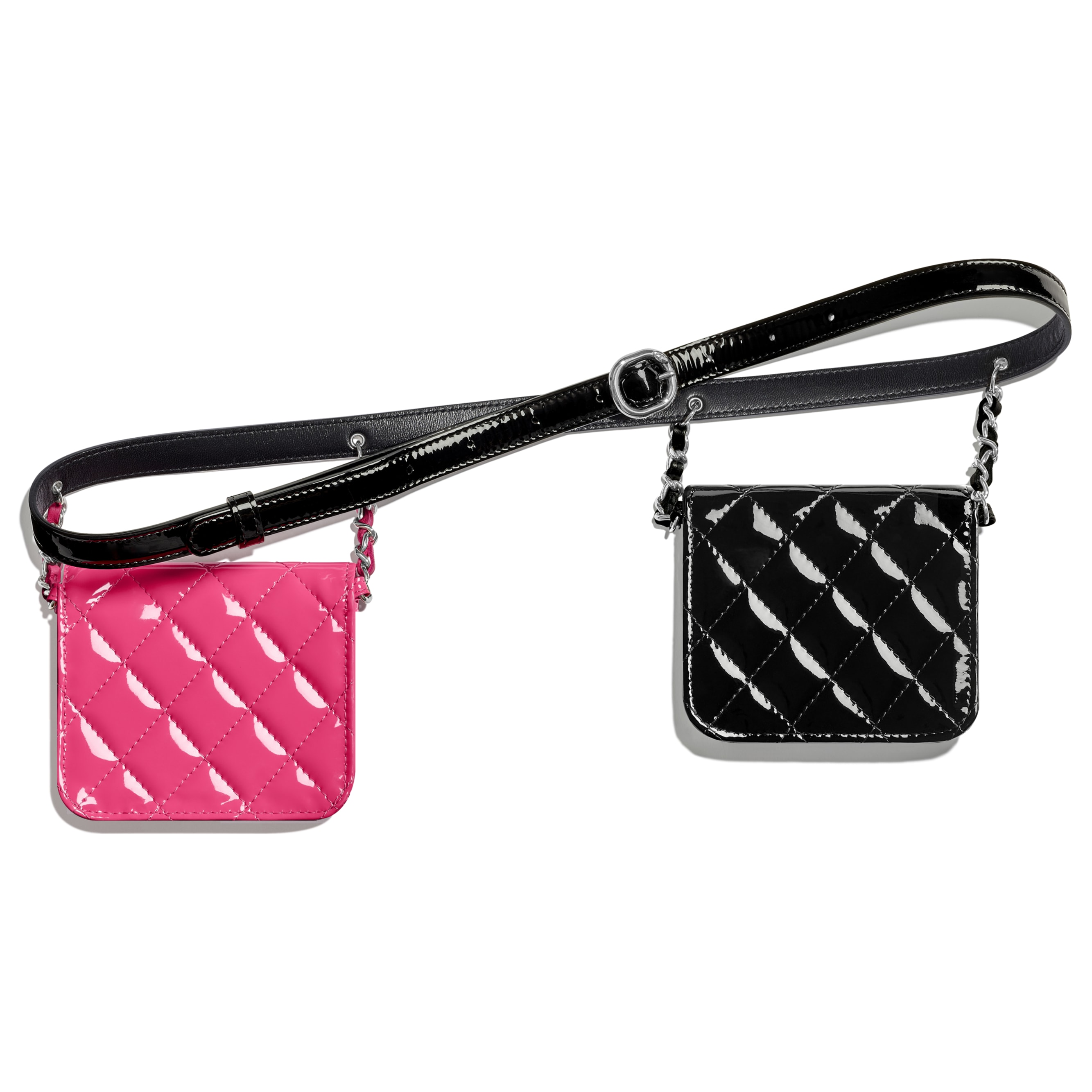 Waist bag - Pink & Black - Patent Calfskin - Alternative view - see standard sized version
