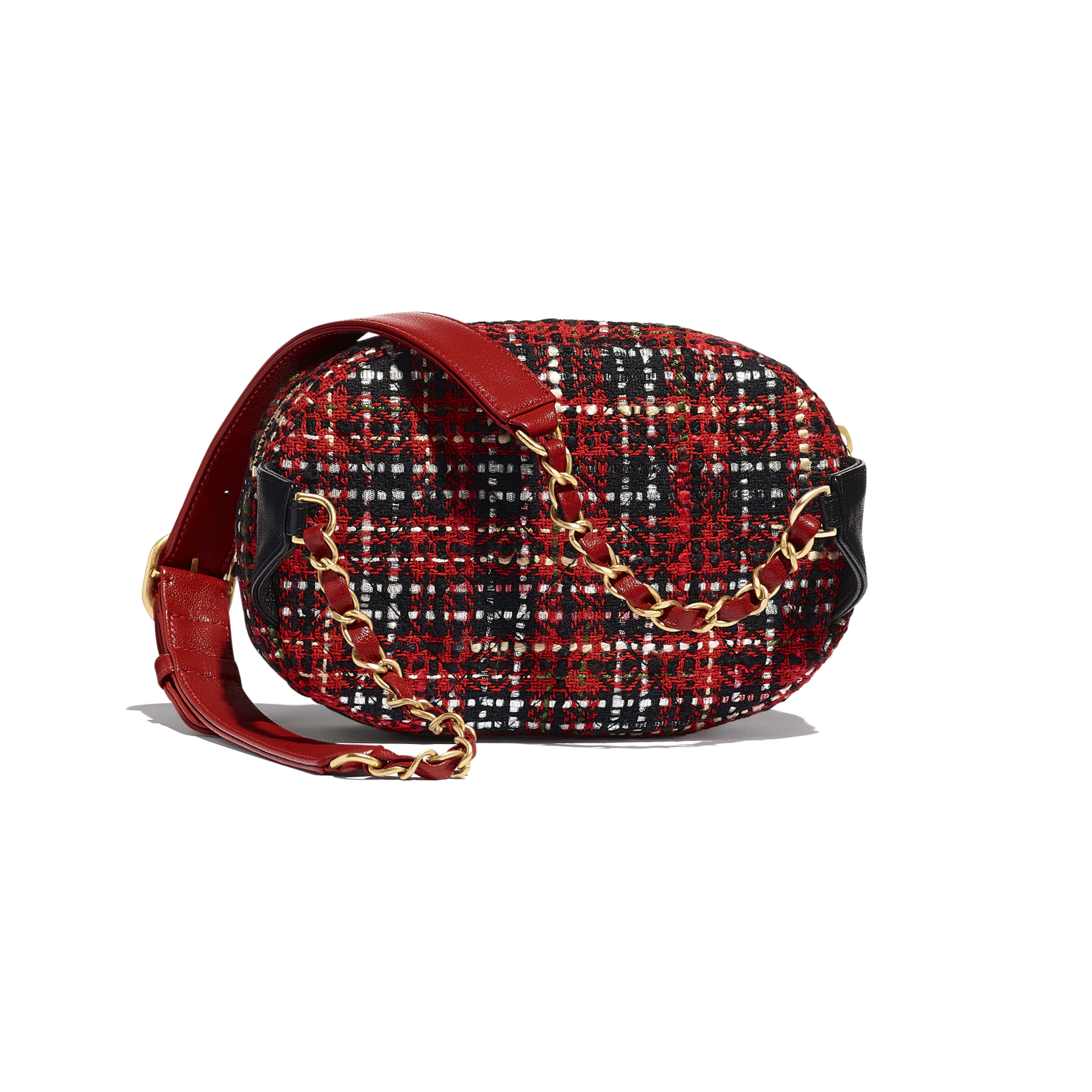 Waist Bag - Red, Black, White & Green - Tweed, Lambskin & Gold Metal - Alternative view - see standard sized version