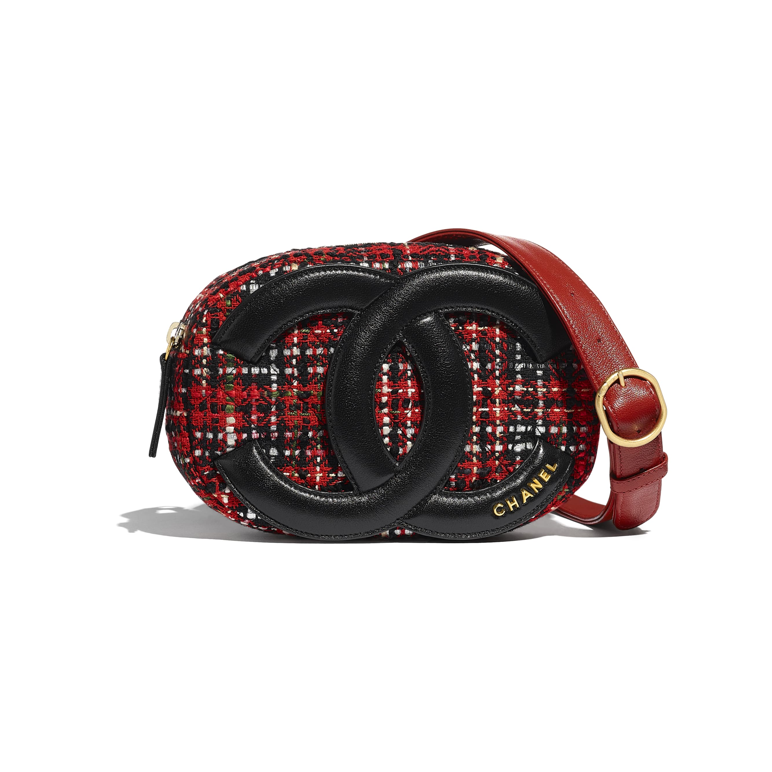 Waist Bag - Red, Black, White & Green - Tweed, Lambskin & Gold Metal - Default view - see standard sized version