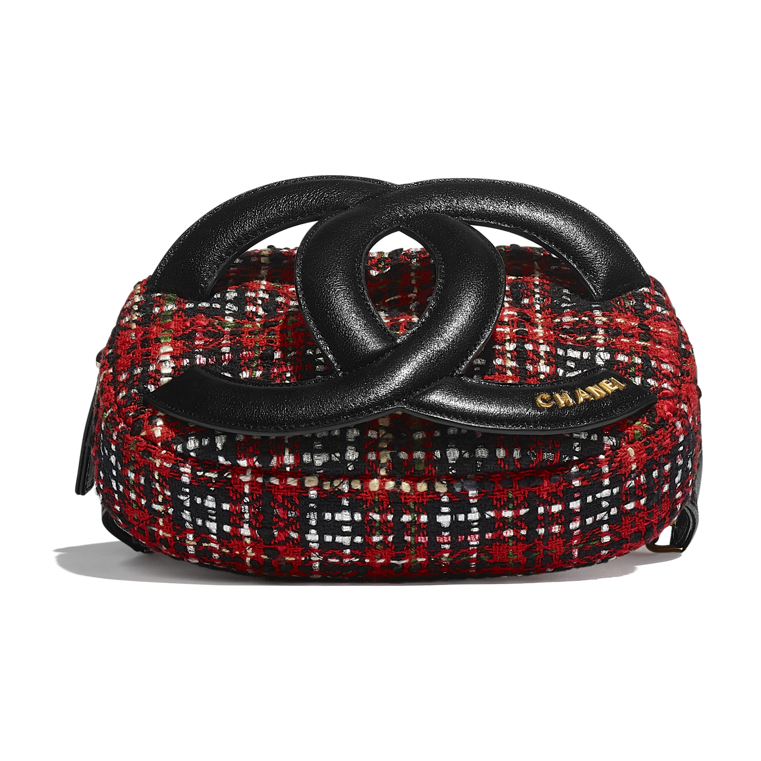 Waist Bag - Red, Black, White & Green - Tweed, Lambskin & Gold Metal - Extra view - see standard sized version