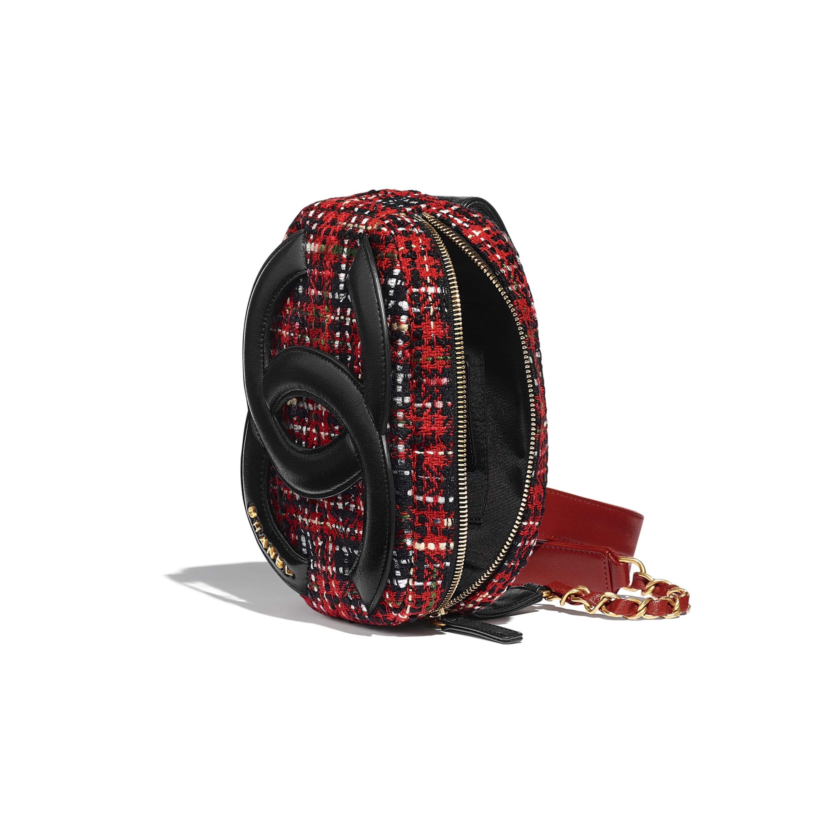 Waist Bag - Red, Black, White & Green - Tweed, Lambskin & Gold Metal - Other view - see standard sized version