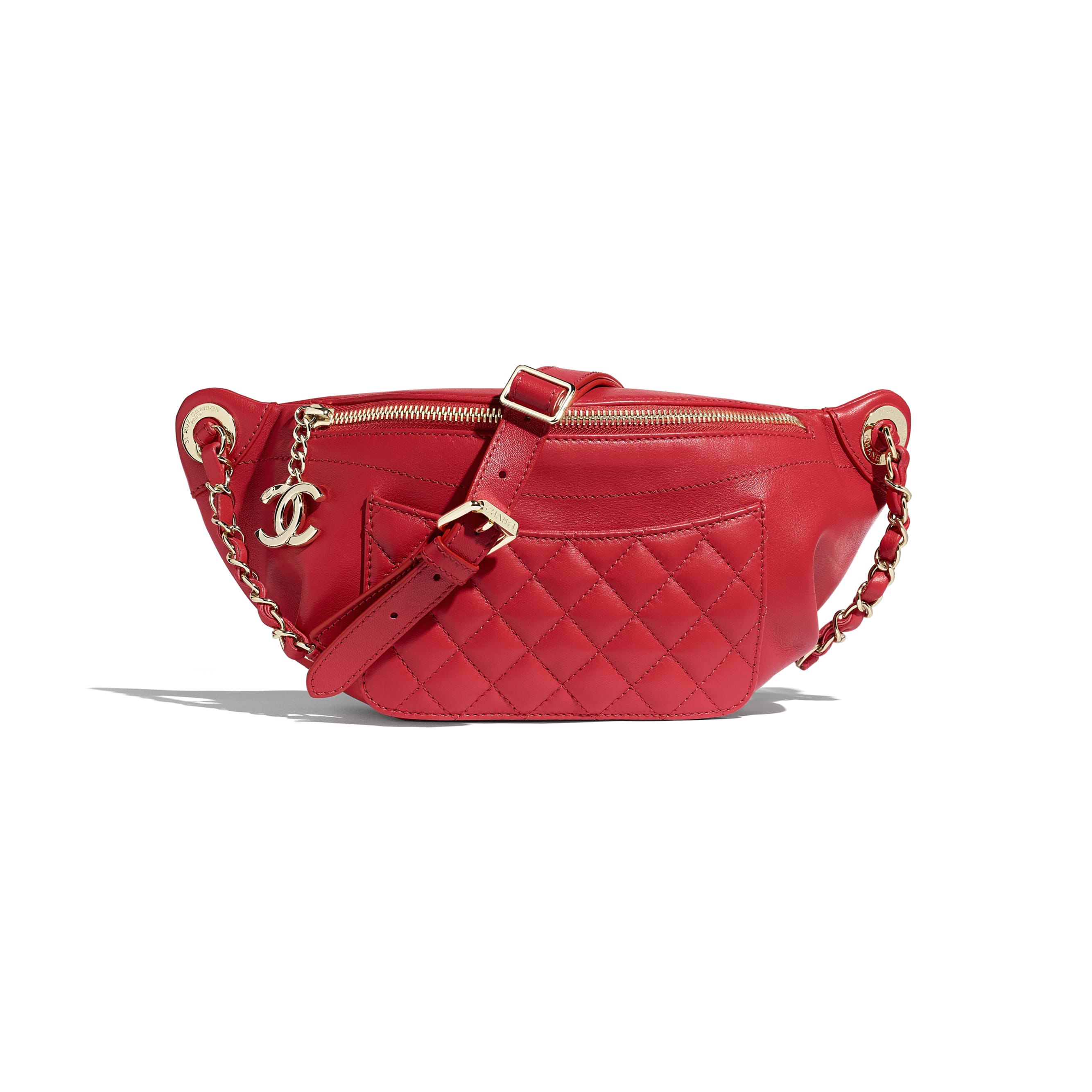 Waist Bag - Red - Lambskin & Gold-Tone Metal - CHANEL - Default view - see standard sized version