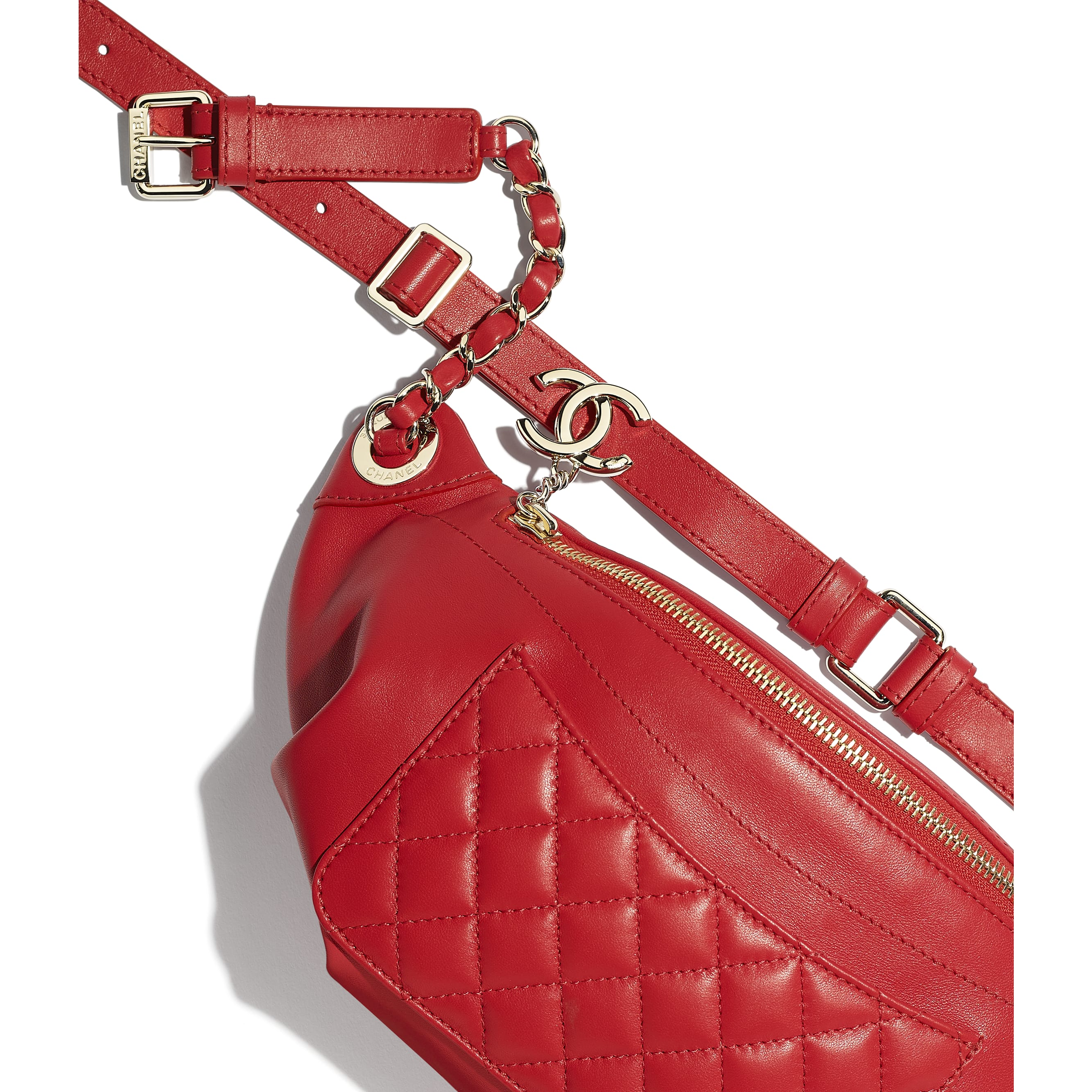 Waist Bag - Red - Lambskin & Gold-Tone Metal - CHANEL - Extra view - see standard sized version