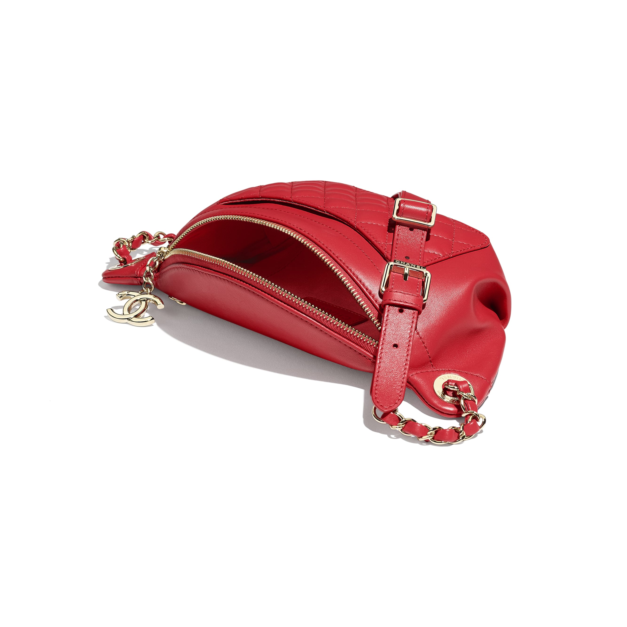 Waist Bag - Red - Lambskin & Gold-Tone Metal - CHANEL - Other view - see standard sized version