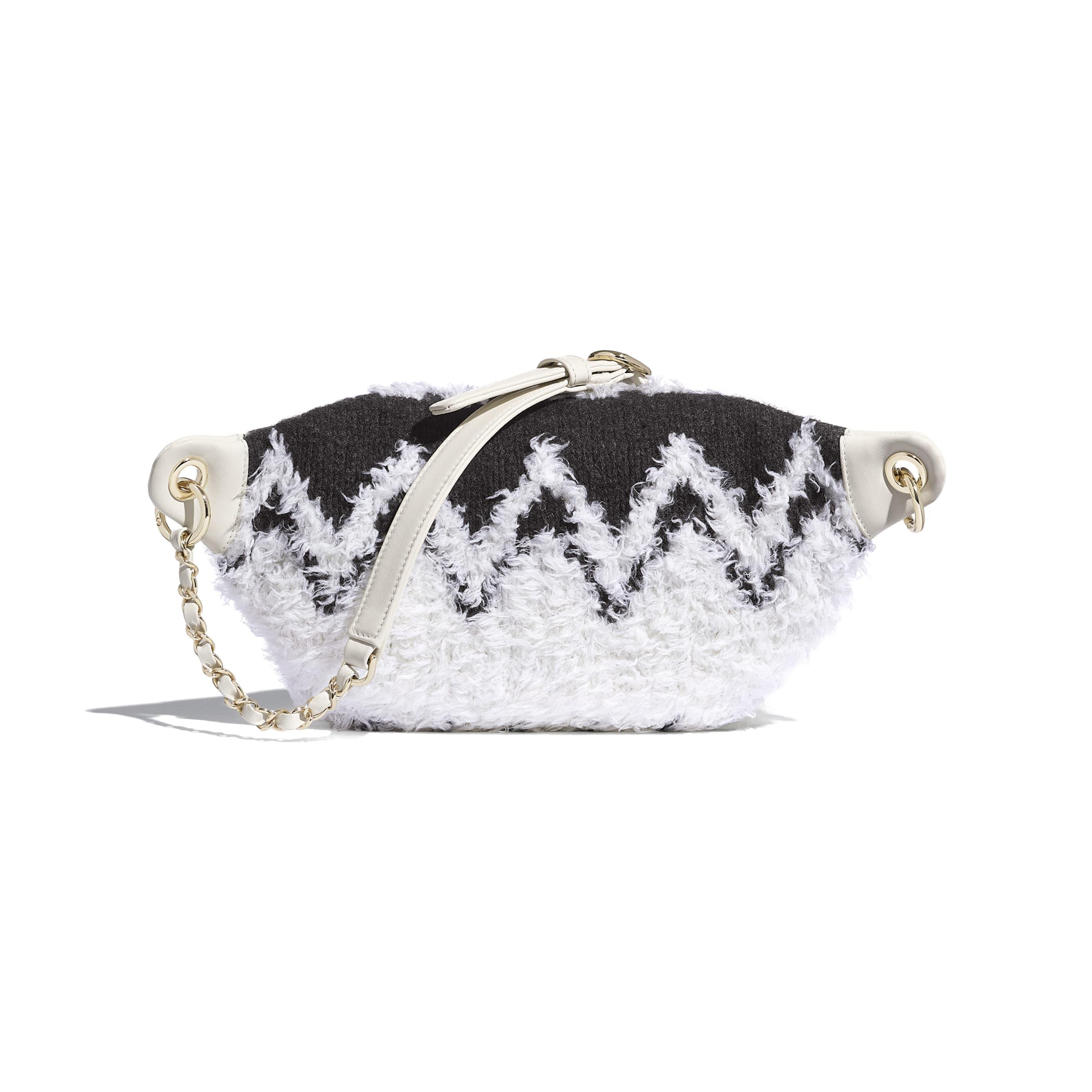 Waist Bag - White & Black - Wool, Shearling Sheepskin & Gold-Tone Metal - Alternative view - see standard sized version