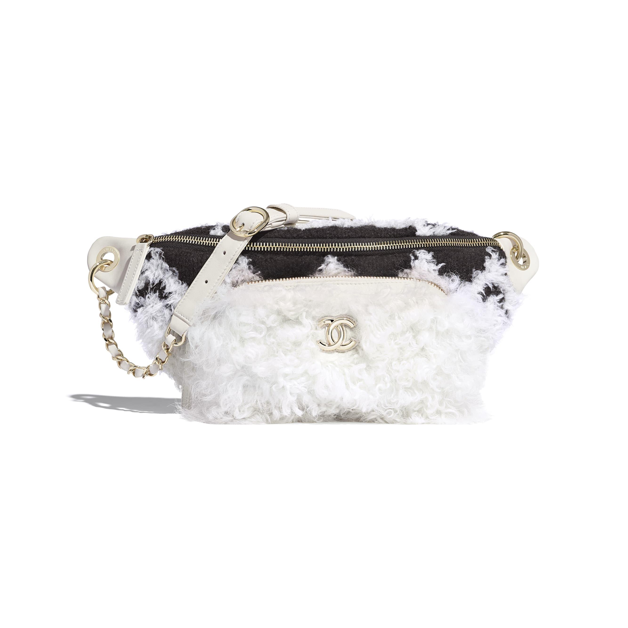 Waist Bag - White & Black - Wool, Shearling Sheepskin & Gold-Tone Metal - Default view - see standard sized version