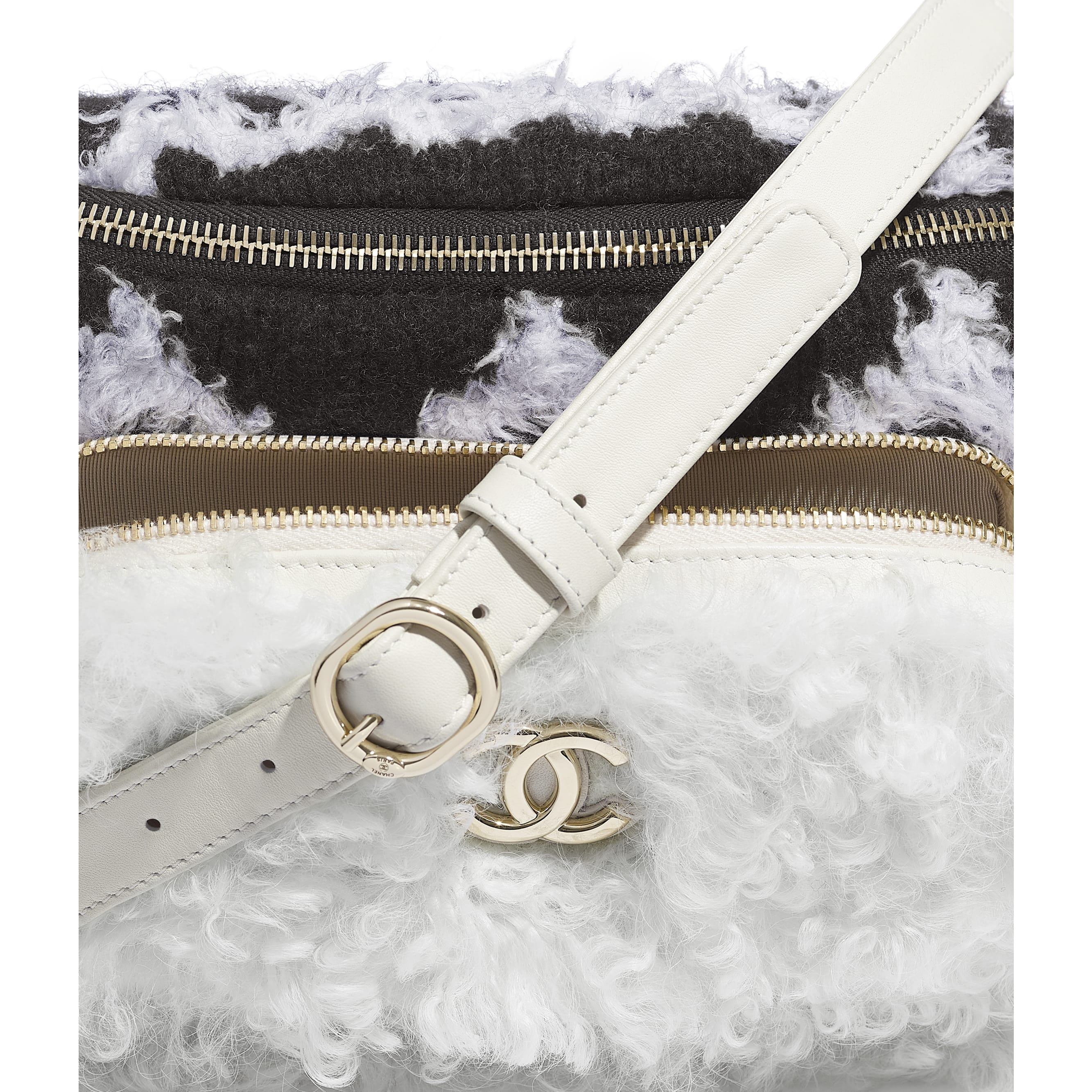 Waist Bag - White & Black - Wool, Shearling Sheepskin & Gold-Tone Metal - Extra view - see standard sized version