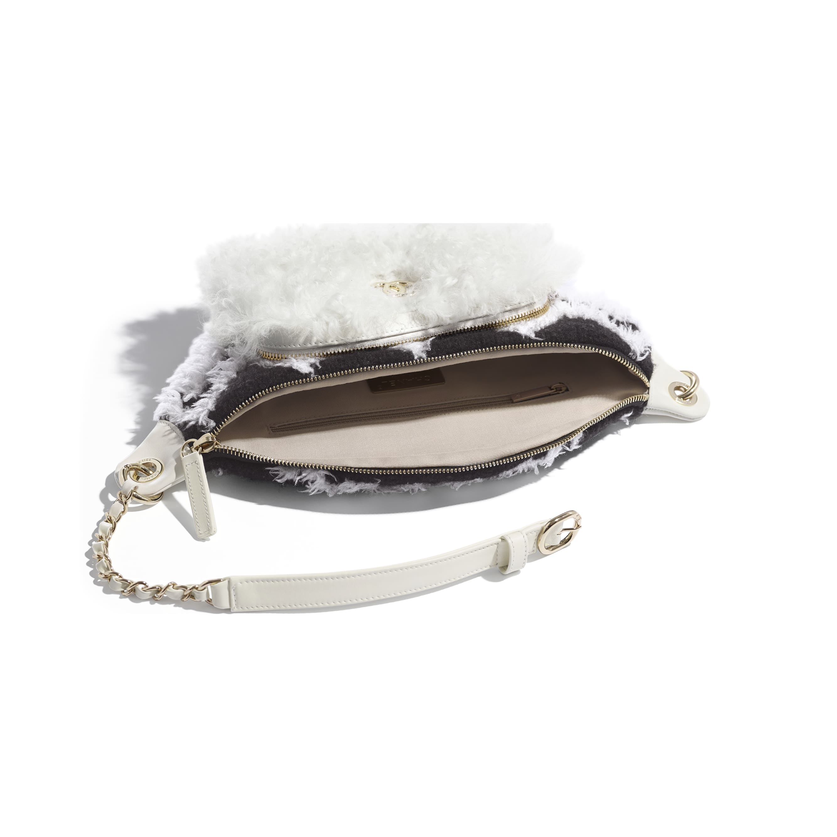 Waist Bag - White & Black - Wool, Shearling Sheepskin & Gold-Tone Metal - Other view - see standard sized version
