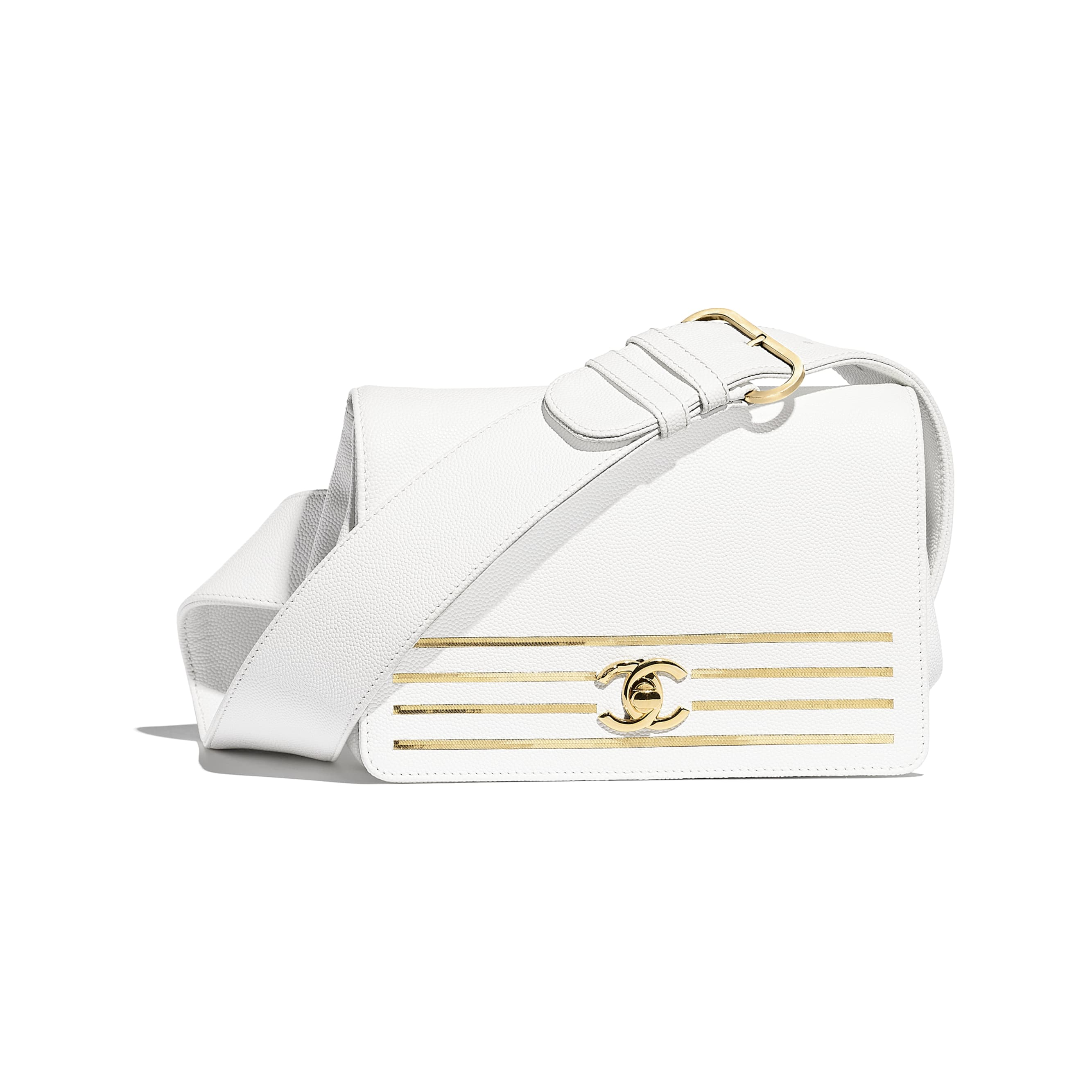 Waist Bag - White - Embroidered Grained Calfskin & Gold-Tone Metal - Default view - see standard sized version