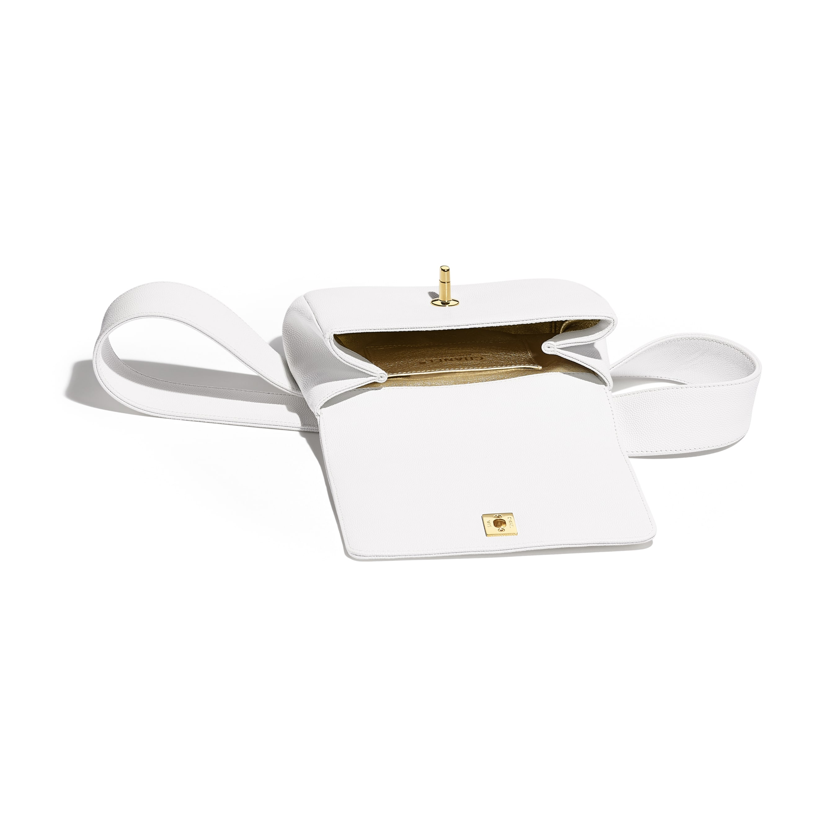Waist Bag - White - Embroidered Grained Calfskin & Gold-Tone Metal - Other view - see standard sized version