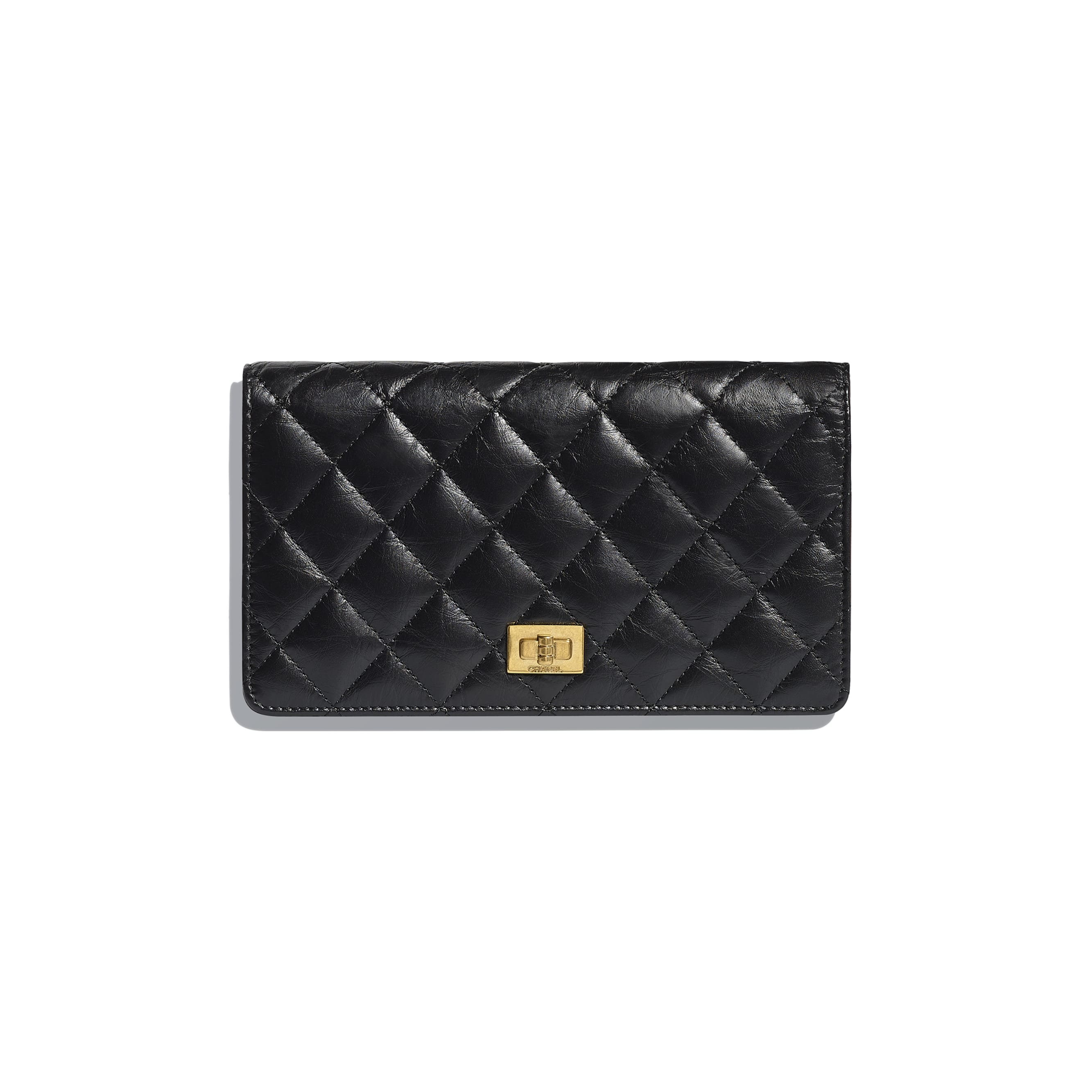 Double Wallet - Black - Aged Calfskin & Gold-Tone Metal - Default view - see standard sized version