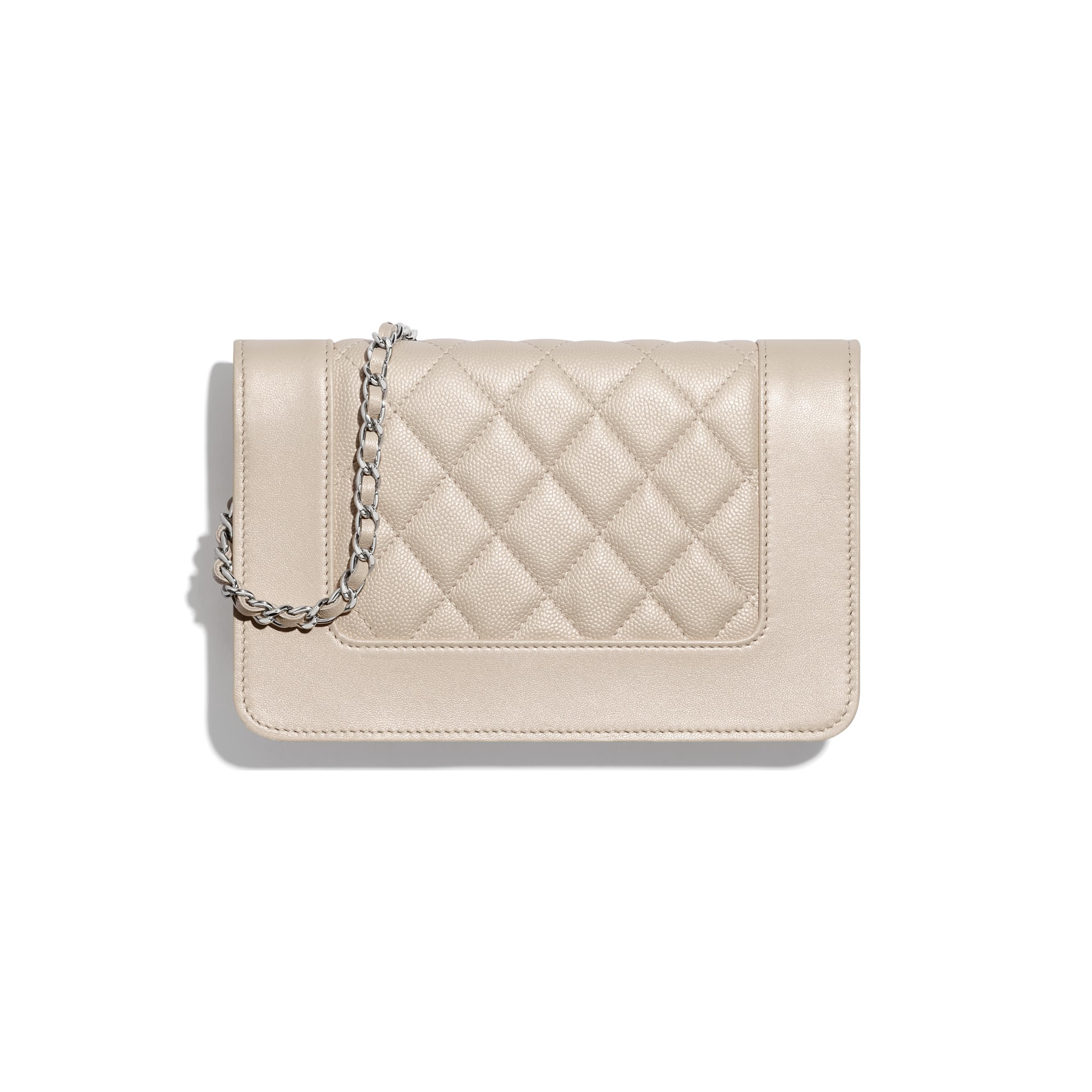 Wallet On Chain - Beige - Grained Calfskin, Calfskin & Silver-Tone Metal - CHANEL - Alternative view - see standard sized version