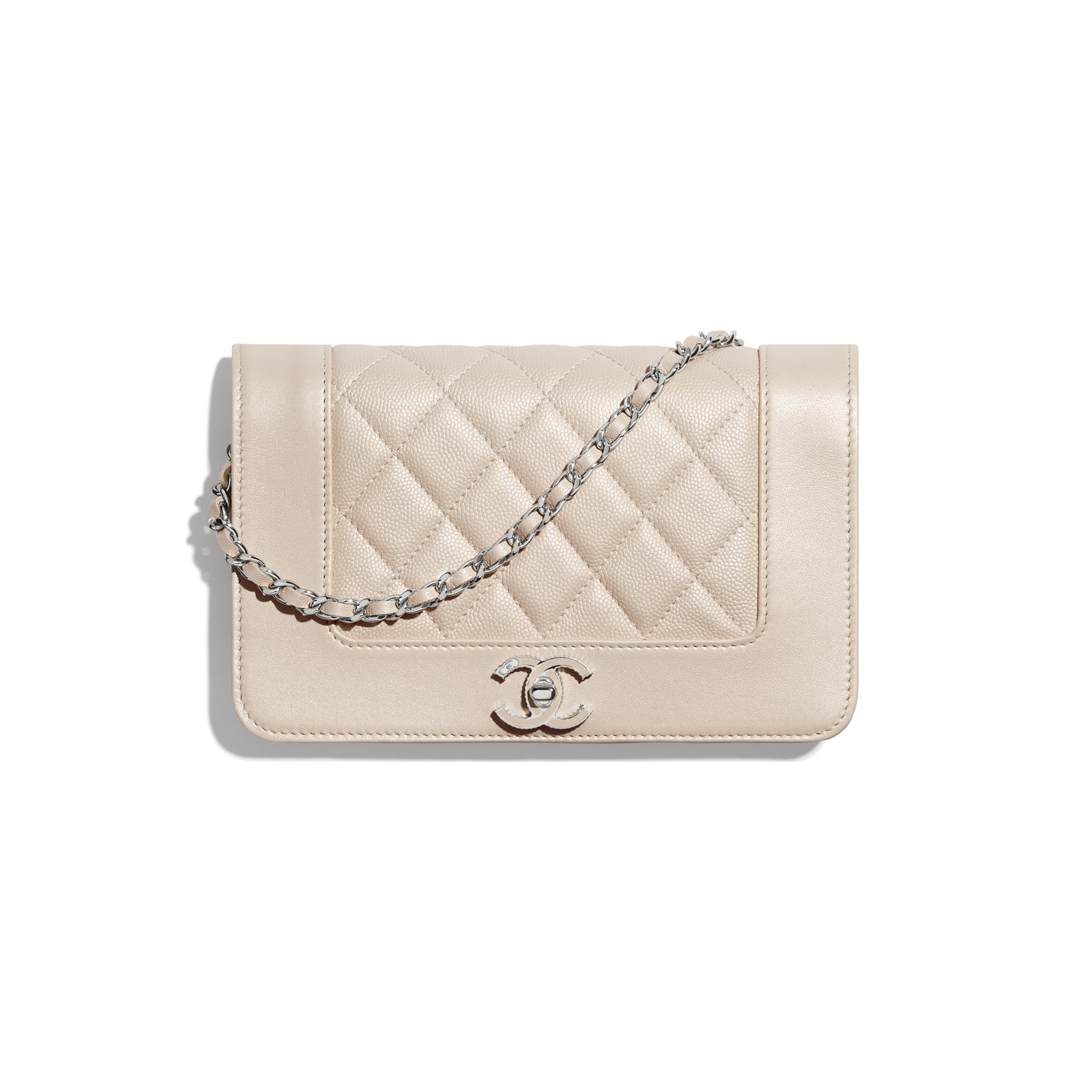 Wallet On Chain - Beige - Grained Calfskin, Calfskin & Silver-Tone Metal - CHANEL - Default view - see standard sized version