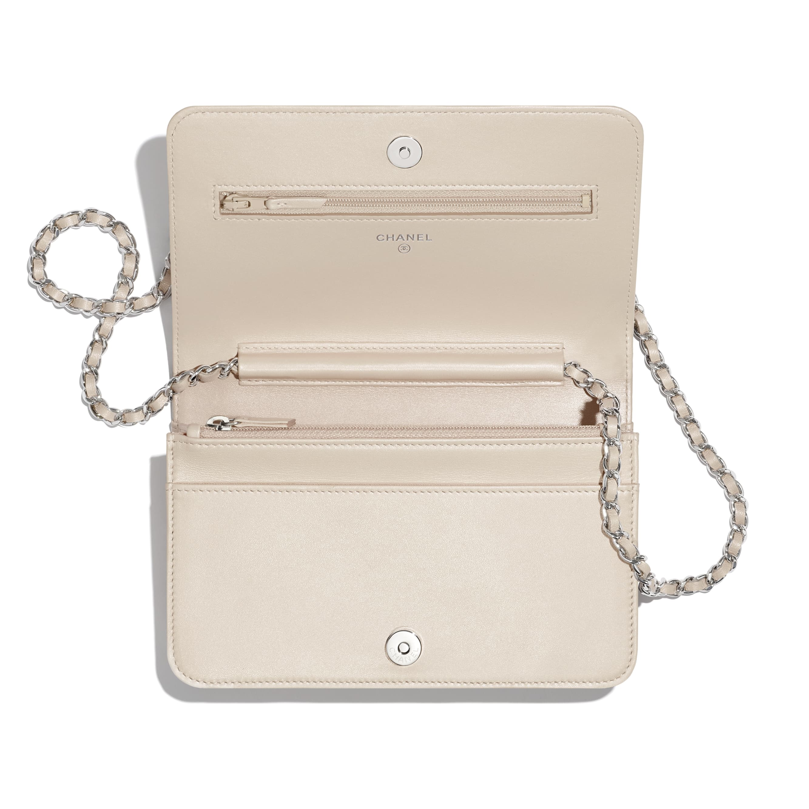 Wallet On Chain - Beige - Grained Calfskin, Calfskin & Silver-Tone Metal - CHANEL - Other view - see standard sized version