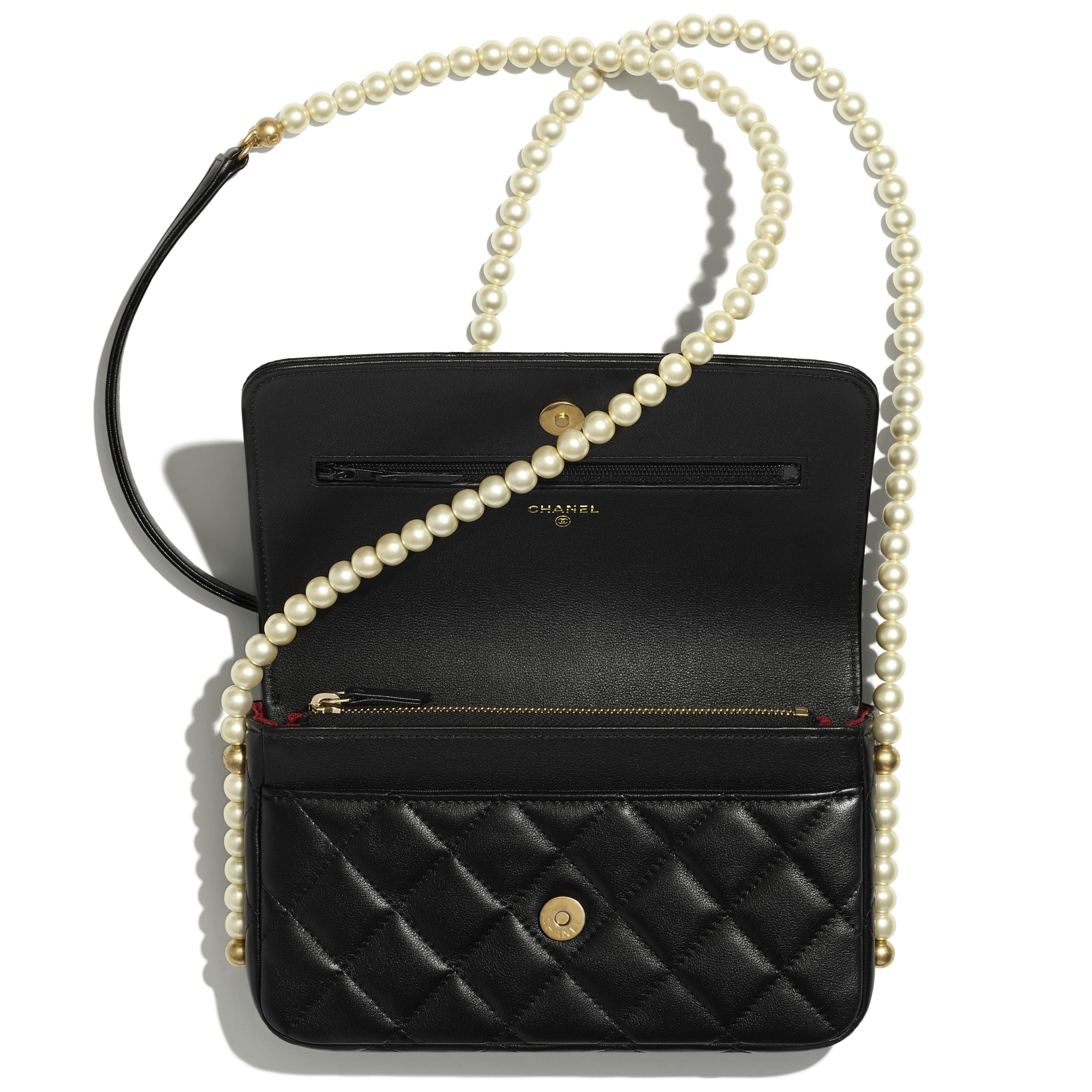 Wallet On Chain - Black - Calfskin, Imitation Pearls & Gold-Tone Metal - CHANEL - Alternative view - see standard sized version