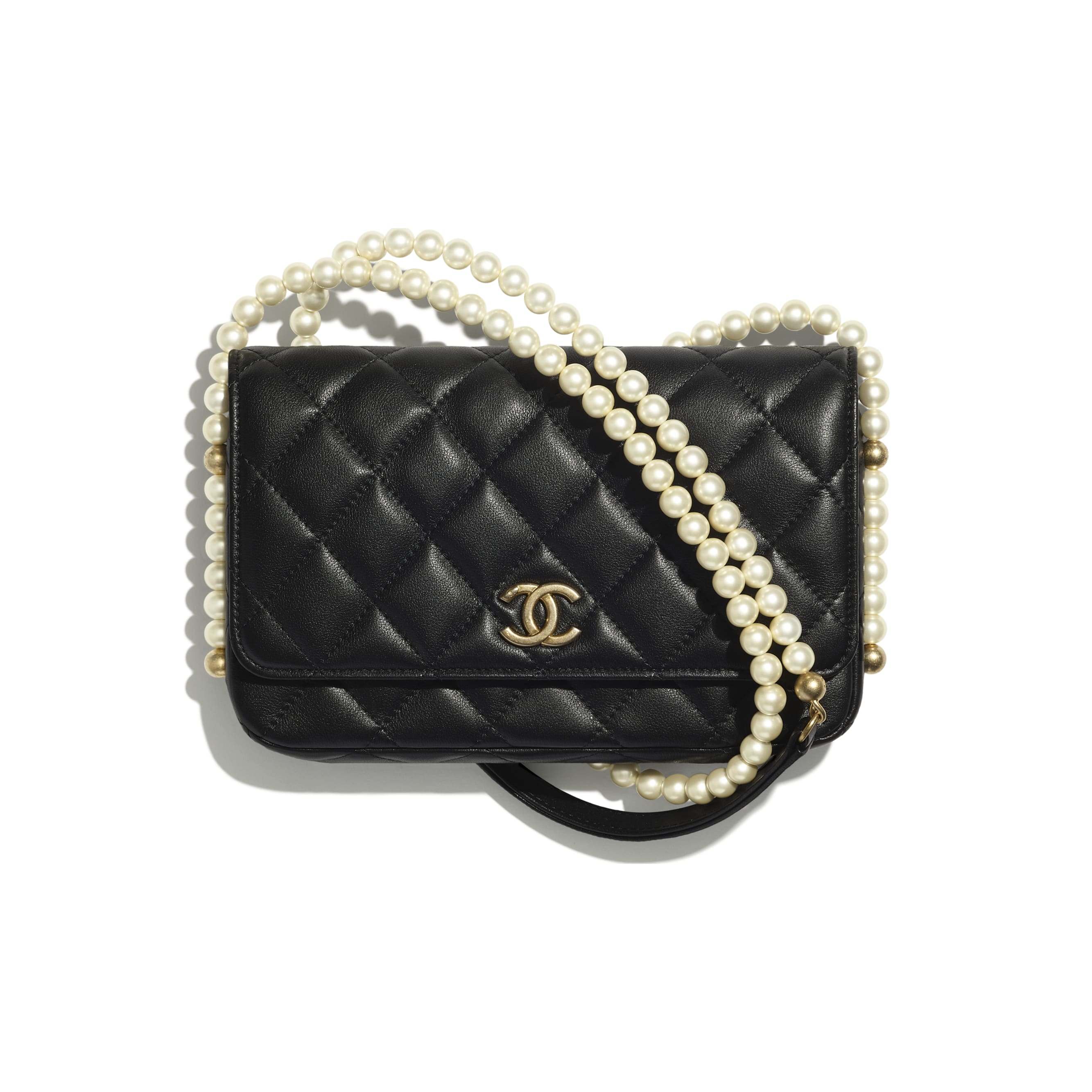 Wallet On Chain - Black - Calfskin, Imitation Pearls & Gold-Tone Metal - CHANEL - Default view - see standard sized version