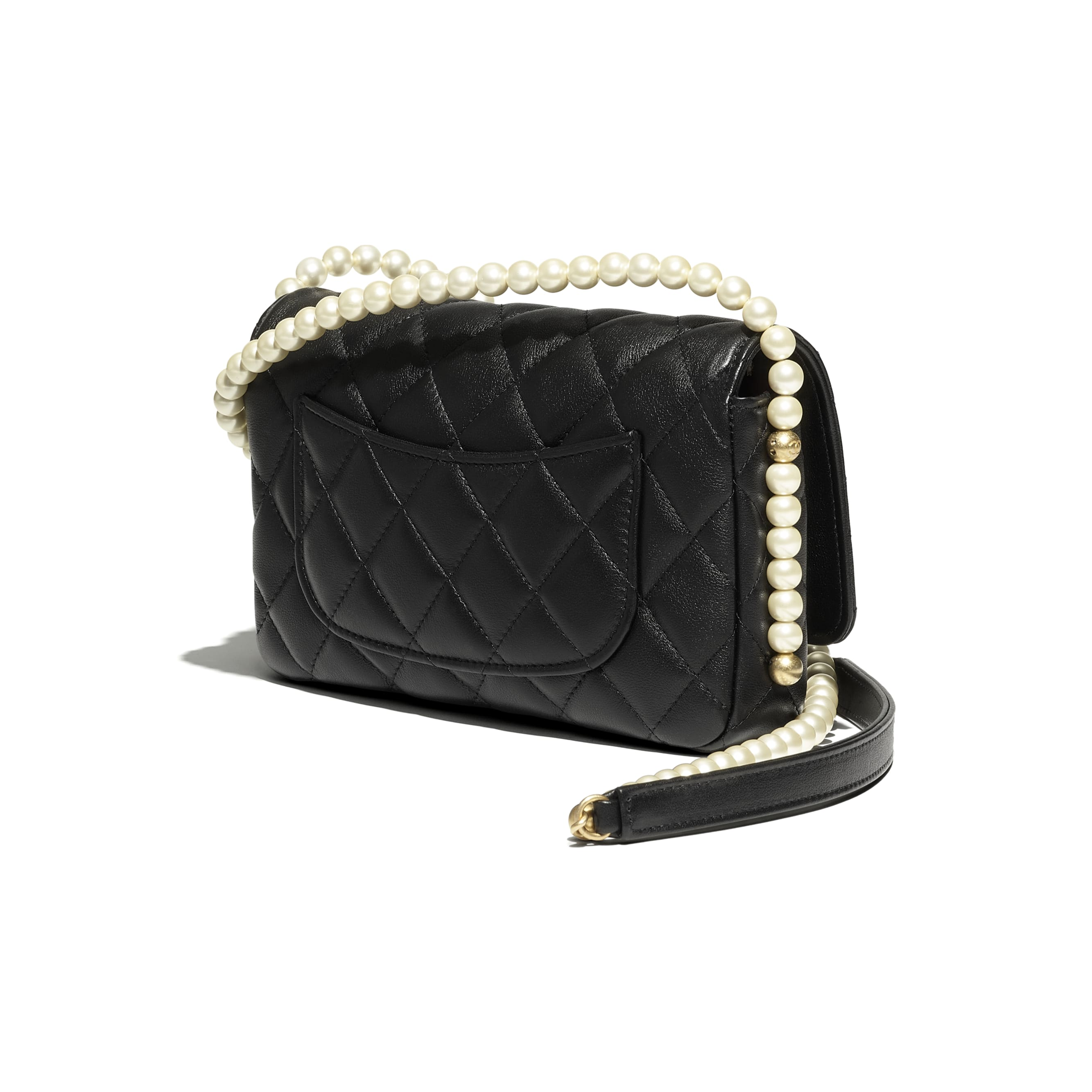 Wallet On Chain - Black - Calfskin, Imitation Pearls & Gold-Tone Metal - CHANEL - Extra view - see standard sized version