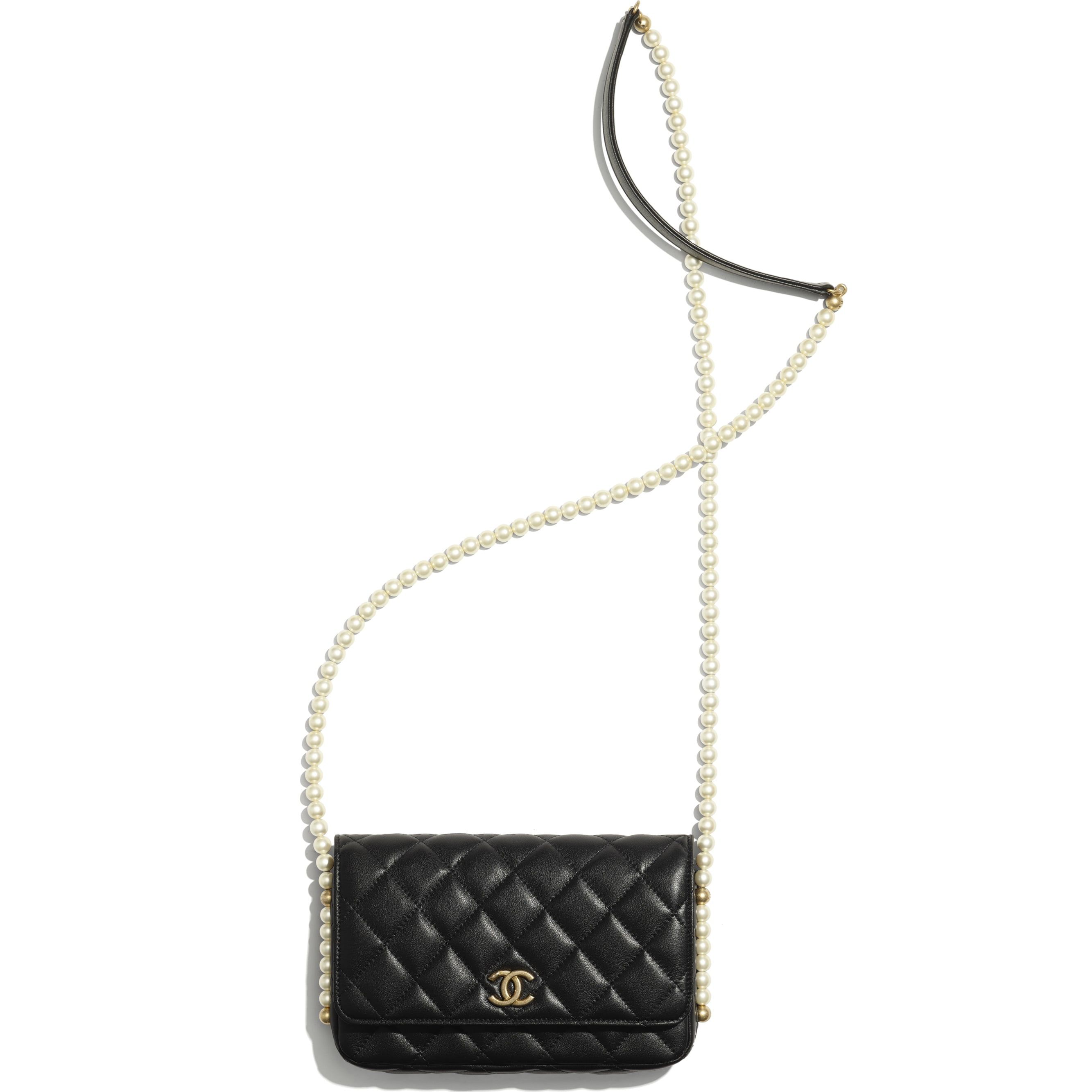 Wallet On Chain - Black - Calfskin, Imitation Pearls & Gold-Tone Metal - CHANEL - Other view - see standard sized version