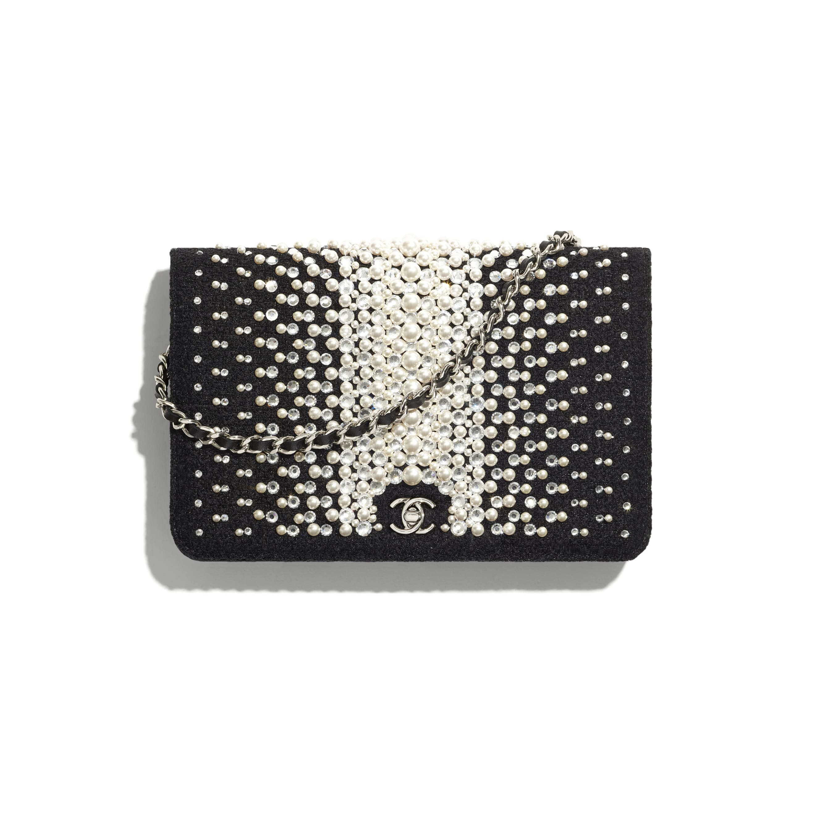 Wallet On Chain - Black - Embroidered Tweed, Crystal Pearls, Strass & Silver-Tone Metal - CHANEL - Default view - see standard sized version