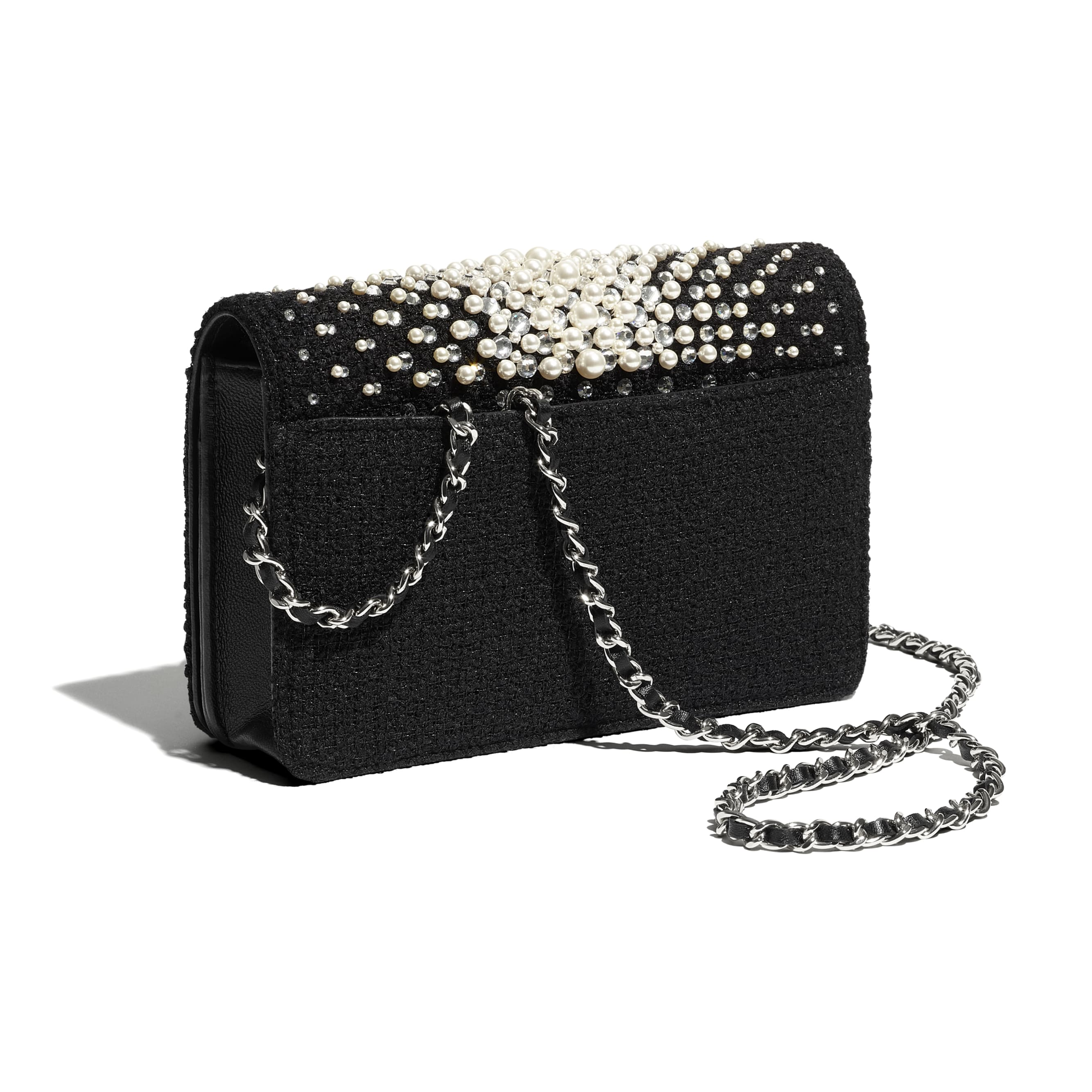 Wallet On Chain - Black - Embroidered Tweed, Crystal Pearls, Strass & Silver-Tone Metal - CHANEL - Extra view - see standard sized version