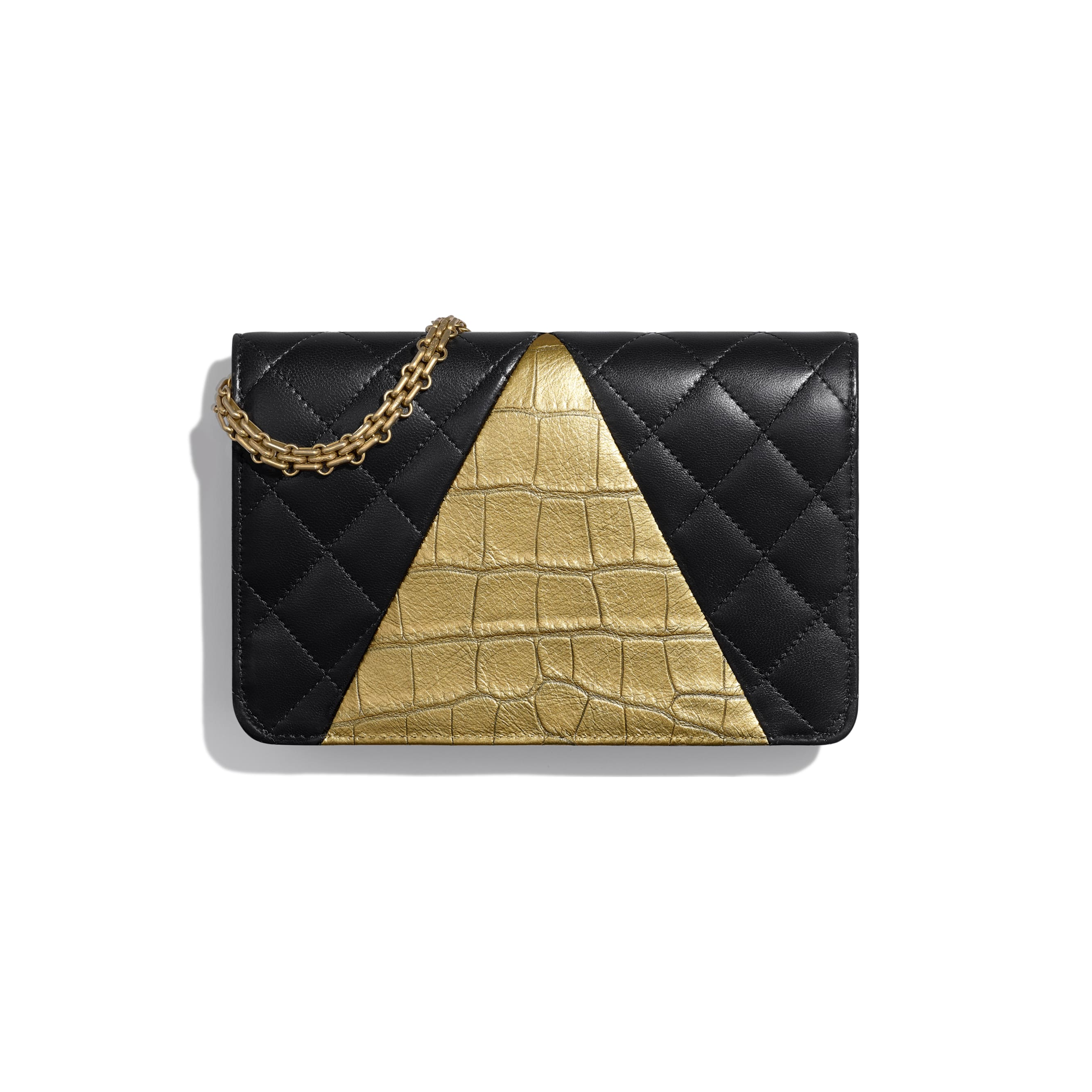Wallet on Chain - Black & Gold - Lambskin, Crocodile Embossed Calfskin & Gold-Tone Metal - Alternative view - see standard sized version