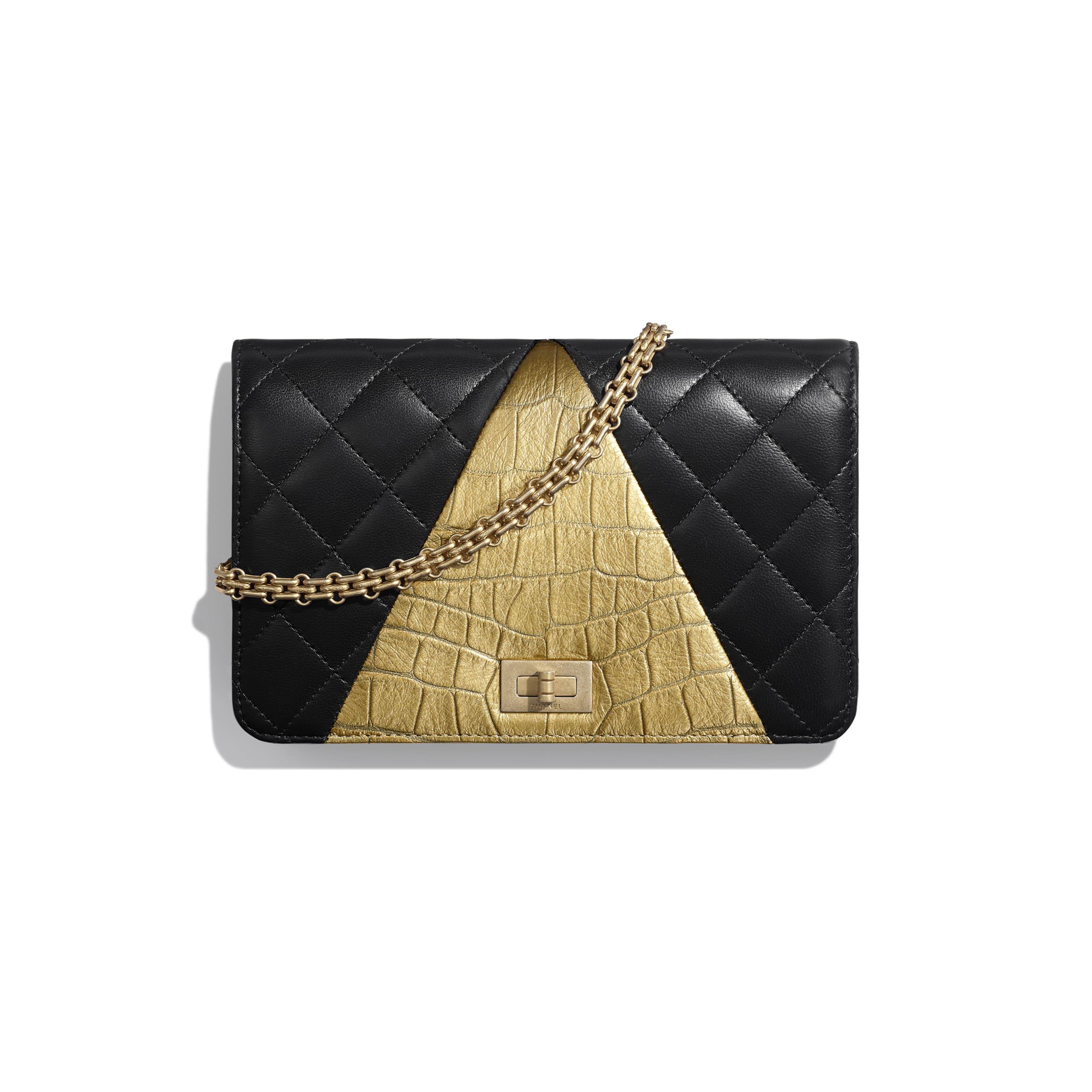 Wallet on Chain - Black & Gold - Lambskin, Crocodile Embossed Calfskin & Gold-Tone Metal - Default view - see standard sized version