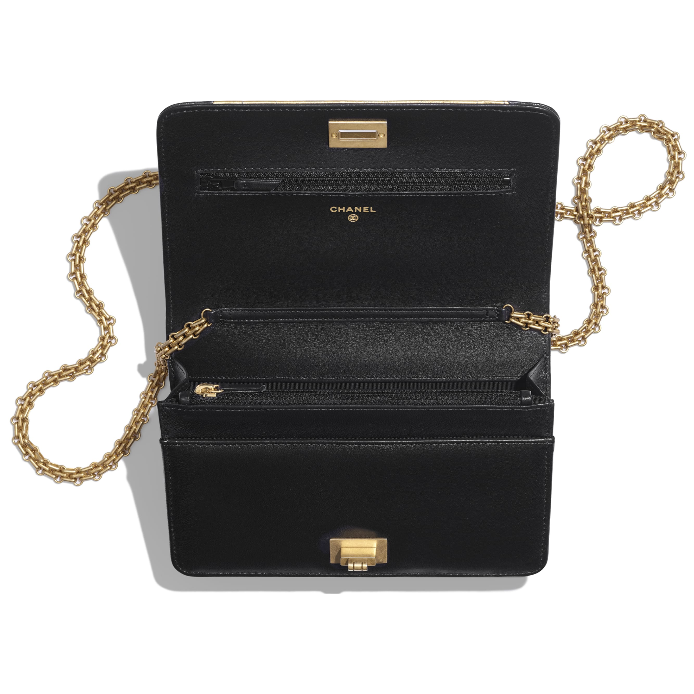 Wallet on Chain - Black & Gold - Lambskin, Crocodile Embossed Calfskin & Gold-Tone Metal - Other view - see standard sized version