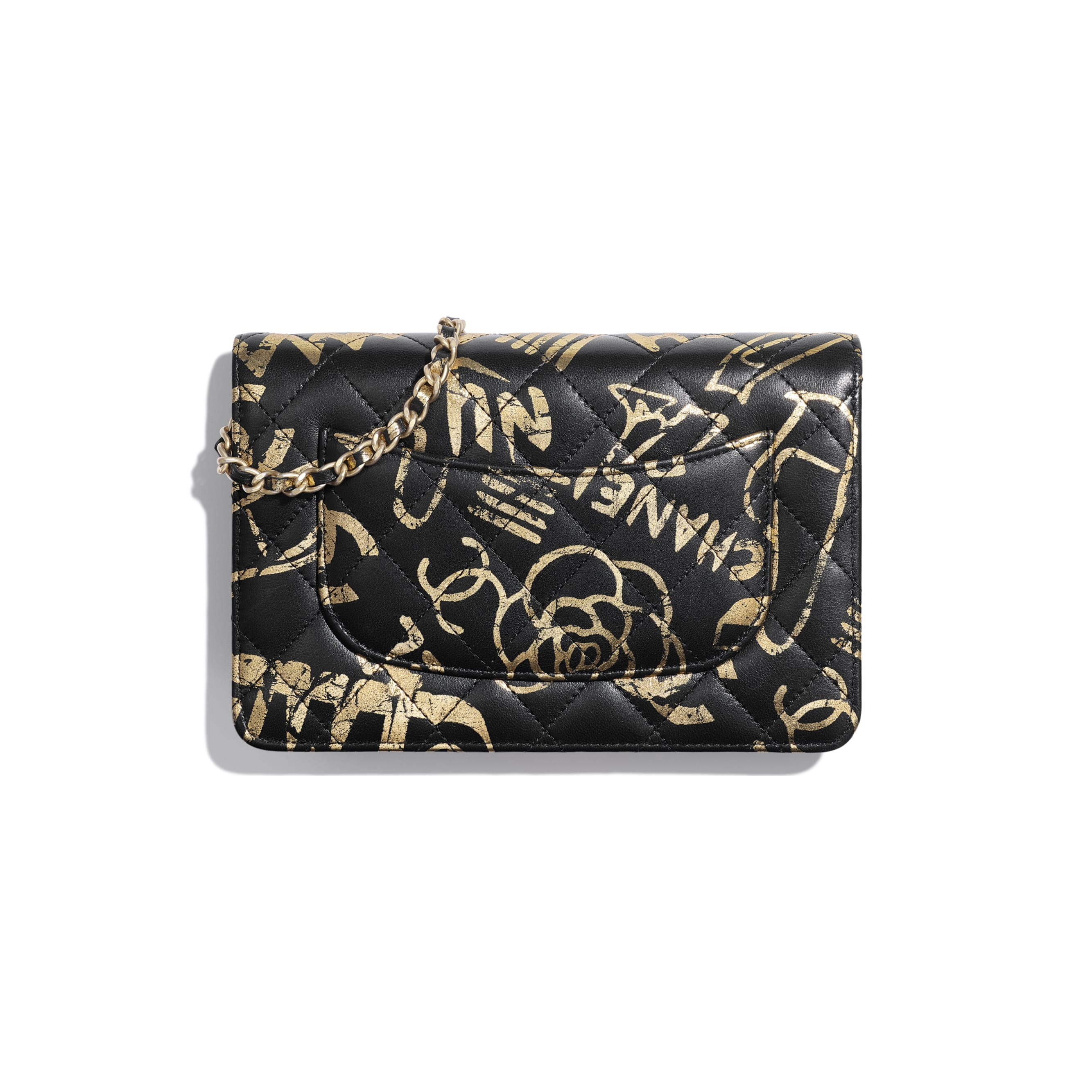 Wallet on Chain - Black & Gold - Printed Calfskin & Gold-Tone Metal - Alternative view - see standard sized version