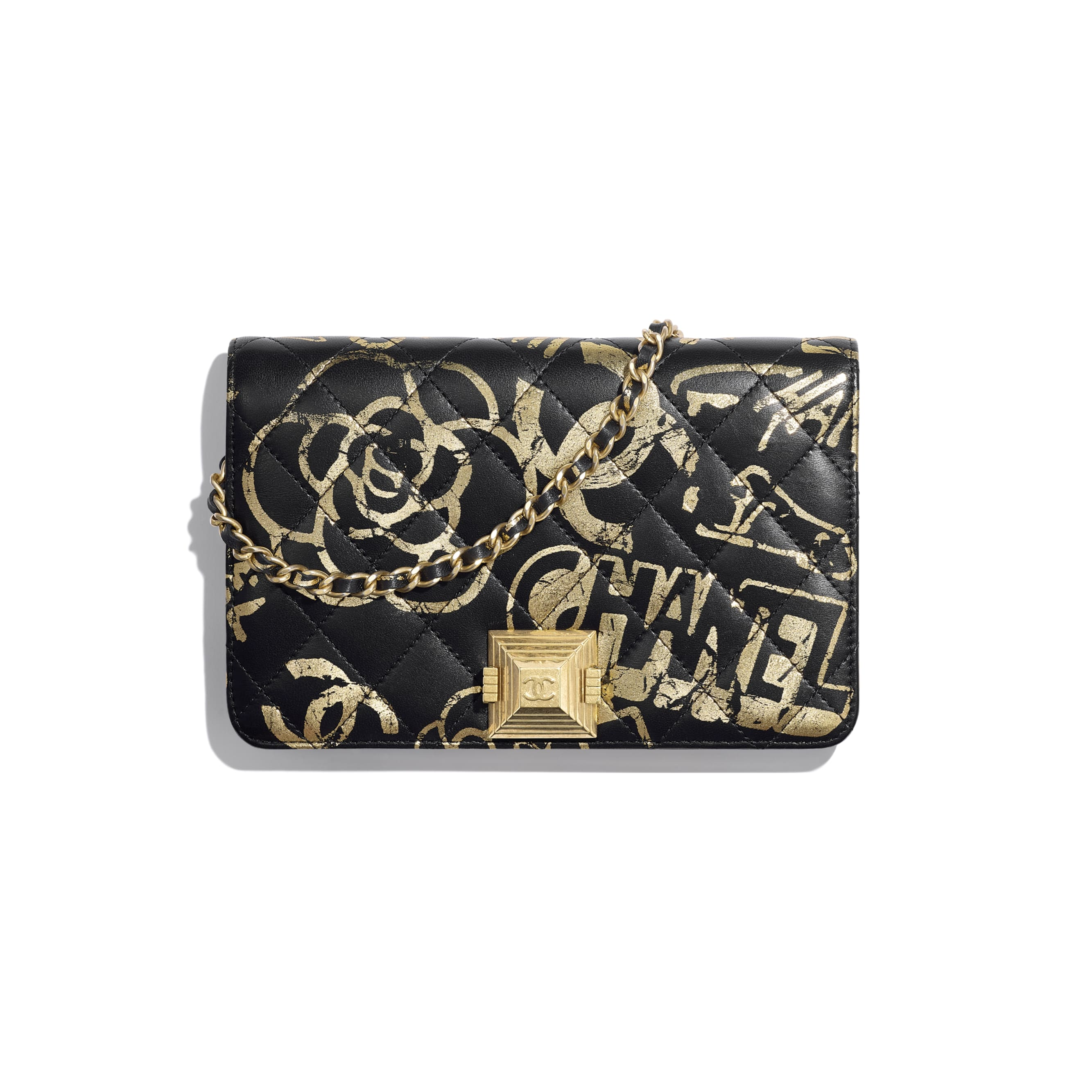 Wallet on Chain - Black & Gold - Printed Calfskin & Gold-Tone Metal - Default view - see standard sized version