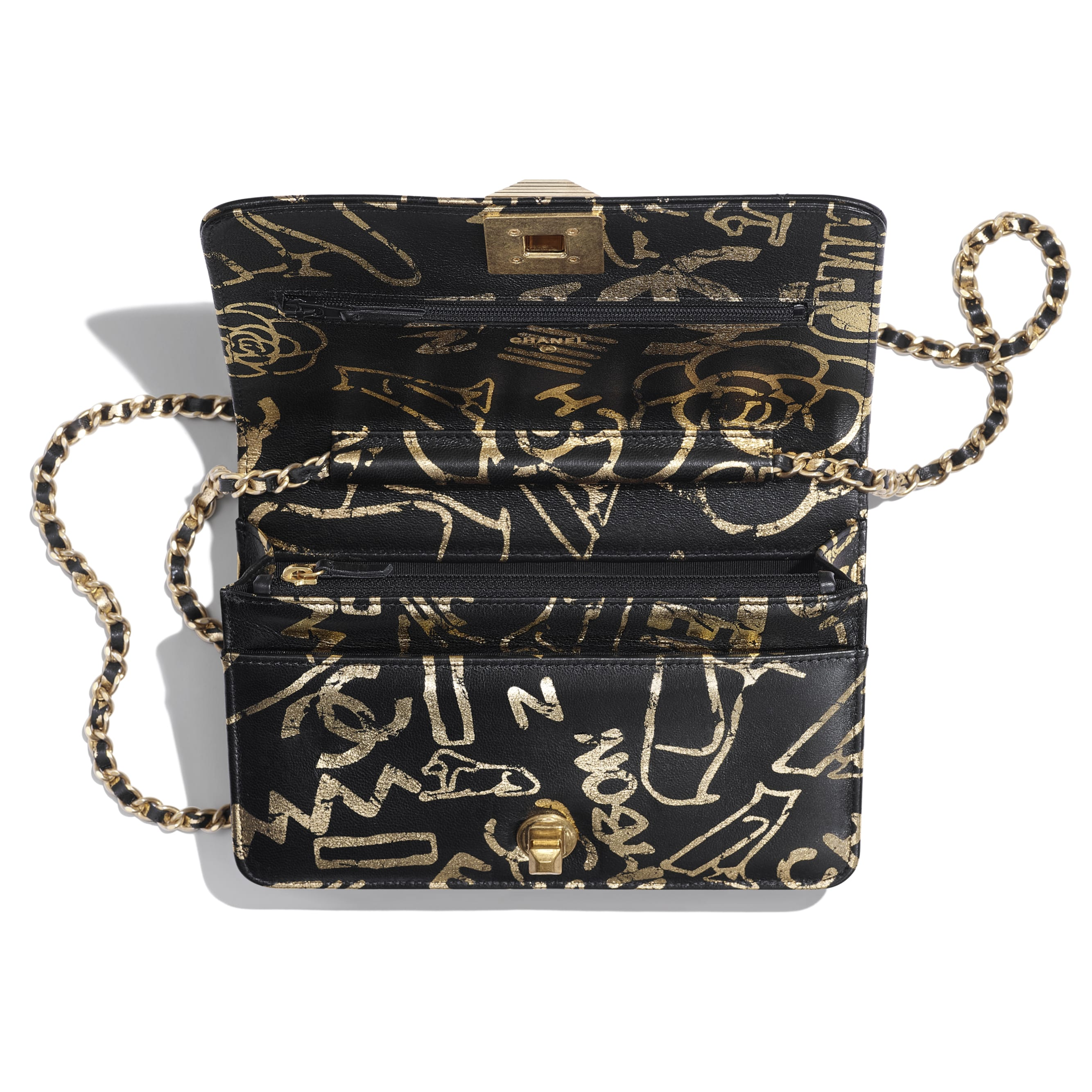 Wallet on Chain - Black & Gold - Printed Calfskin & Gold-Tone Metal - Other view - see standard sized version