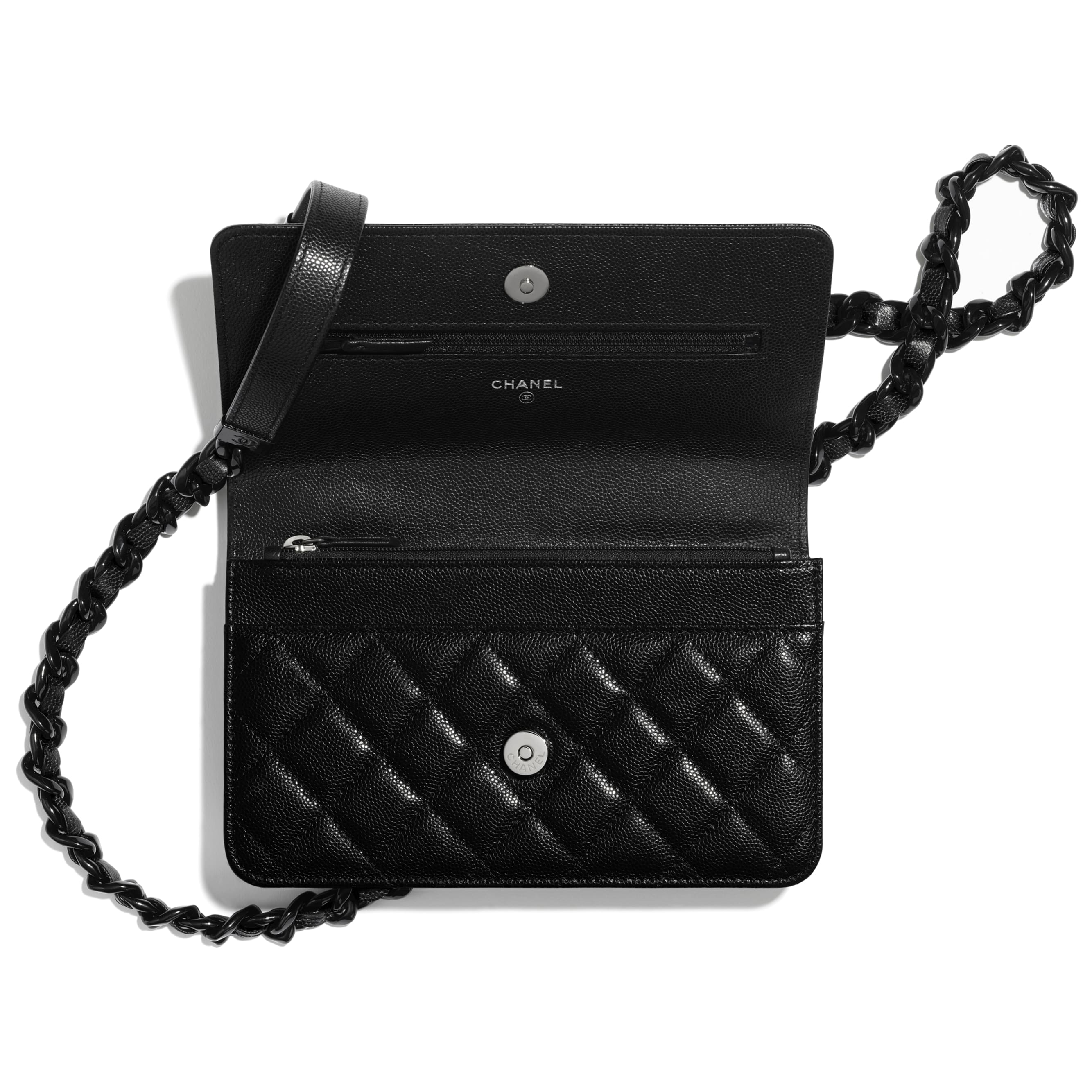 Wallet On Chain - Black - Grained Calfskin & Lacquered Metal - CHANEL - Alternative view - see standard sized version
