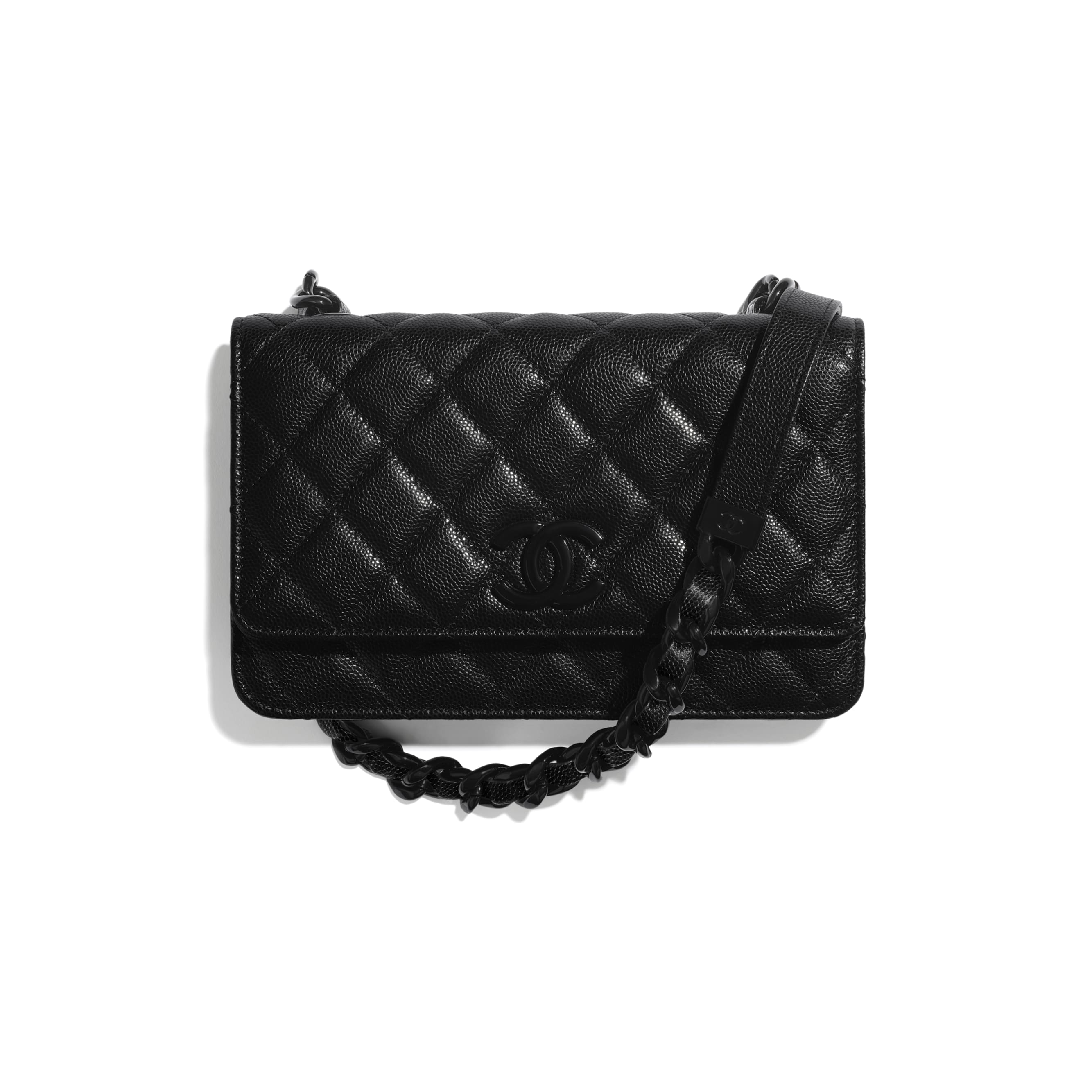 Wallet On Chain - Black - Grained Calfskin & Lacquered Metal - CHANEL - Default view - see standard sized version