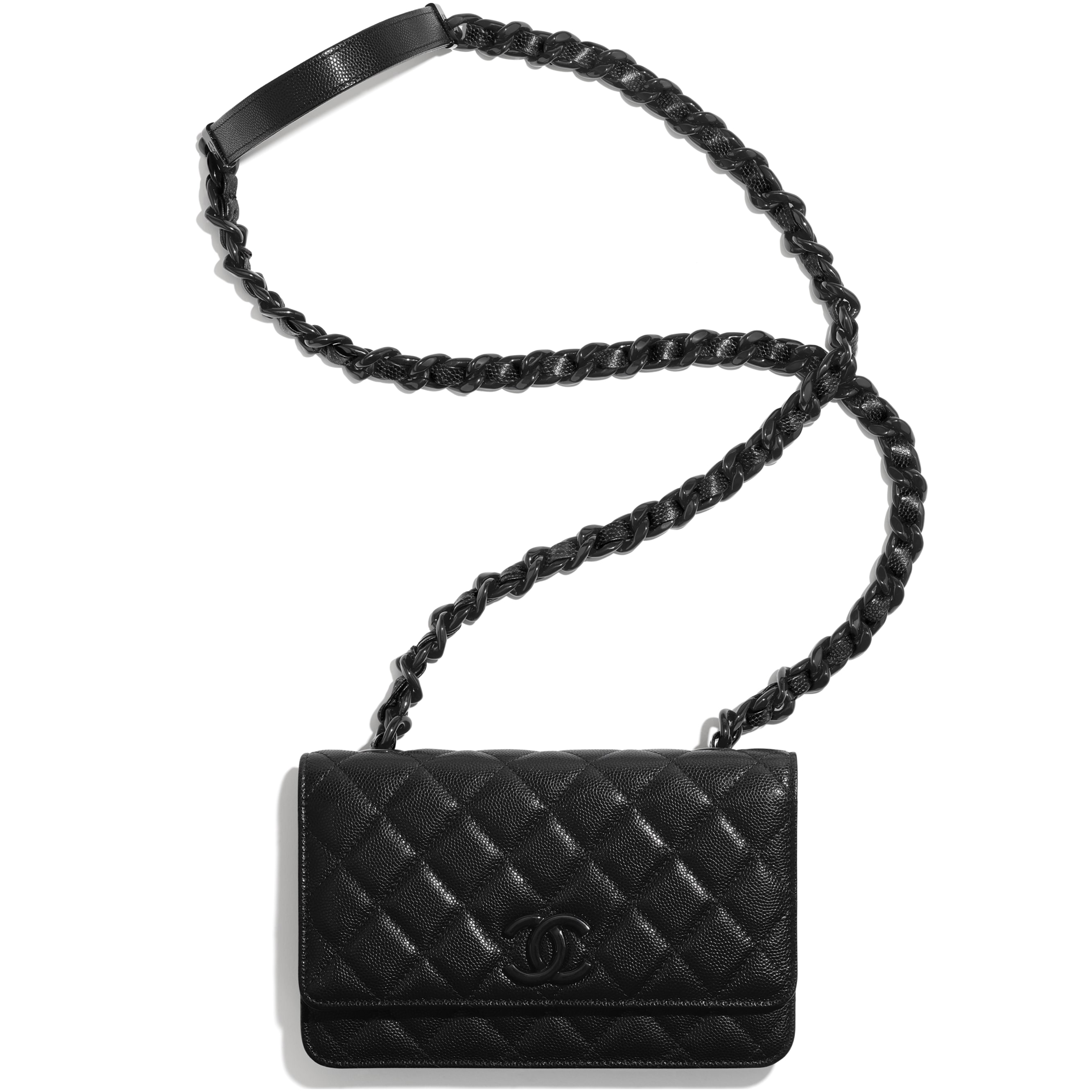 Wallet On Chain - Black - Grained Calfskin & Lacquered Metal - CHANEL - Extra view - see standard sized version