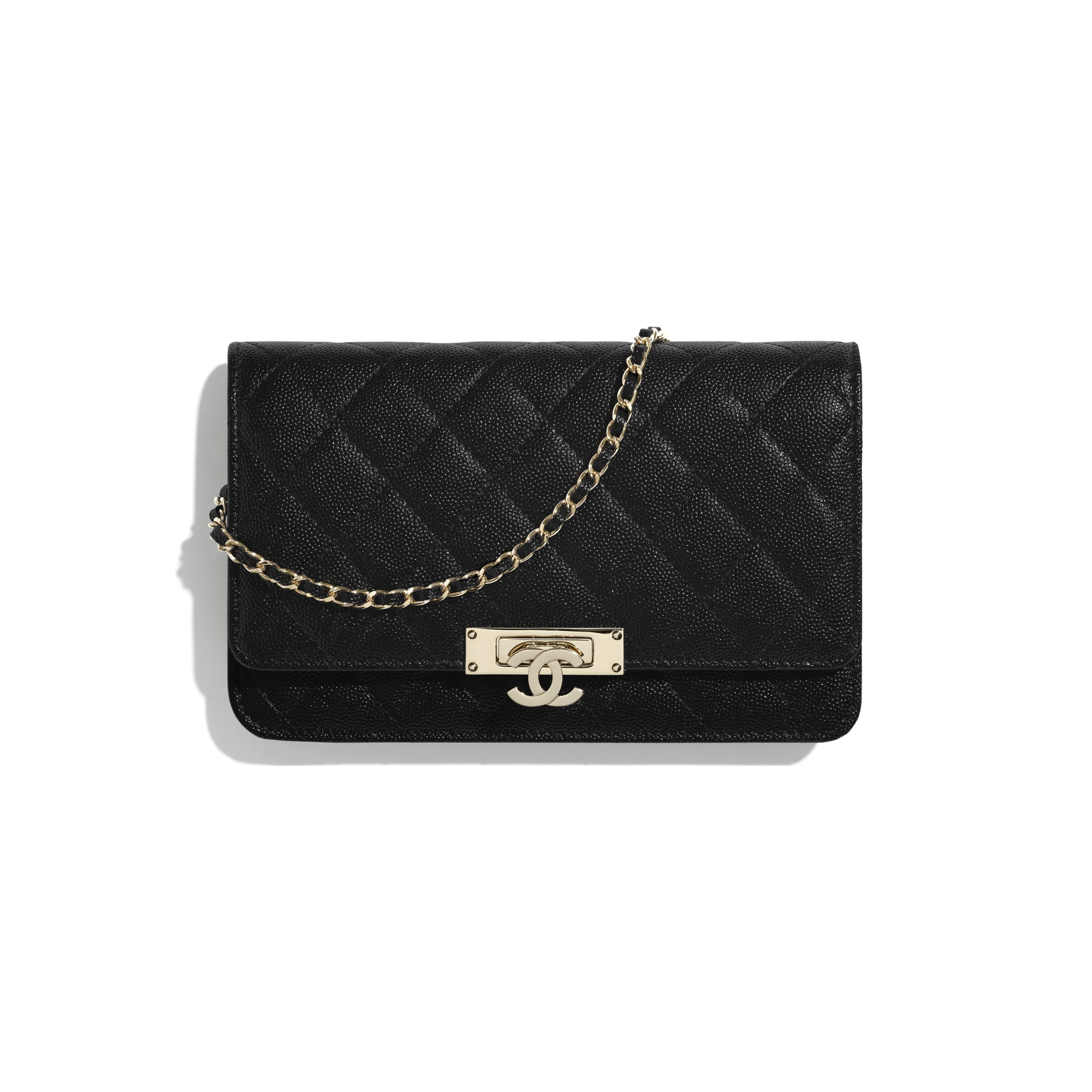 Wallet On Chain - Black - Grained Goatskin & Gold Metal - CHANEL - Default view - see standard sized version